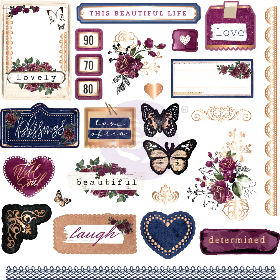 Darcelle Cardstock Ephemera 26/Pkg-Shapes, Tags, Words, Foiled Accents