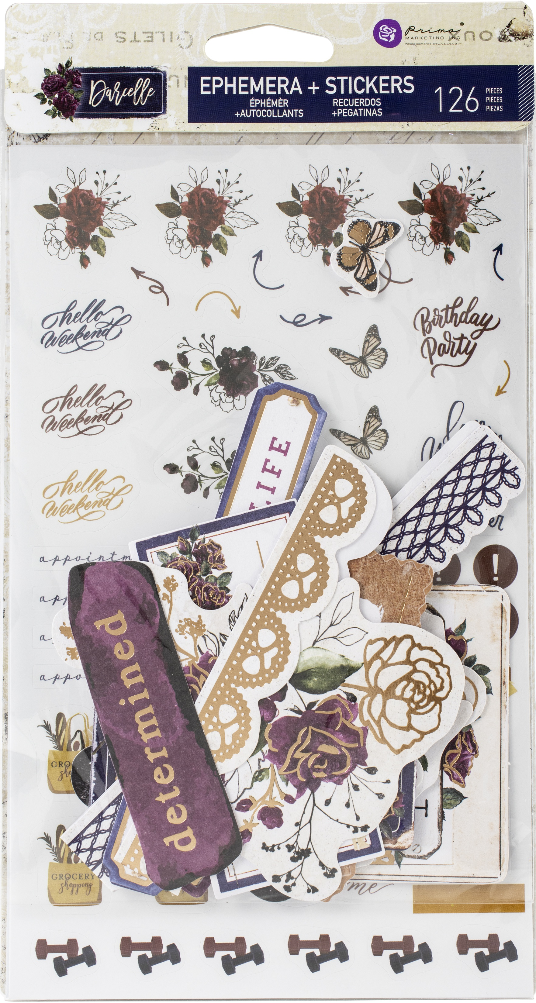 Darcelle Cardstock Ephemera & Stickers 126/Pkg-Shapes, Tags, Words, Foiled Accen...
