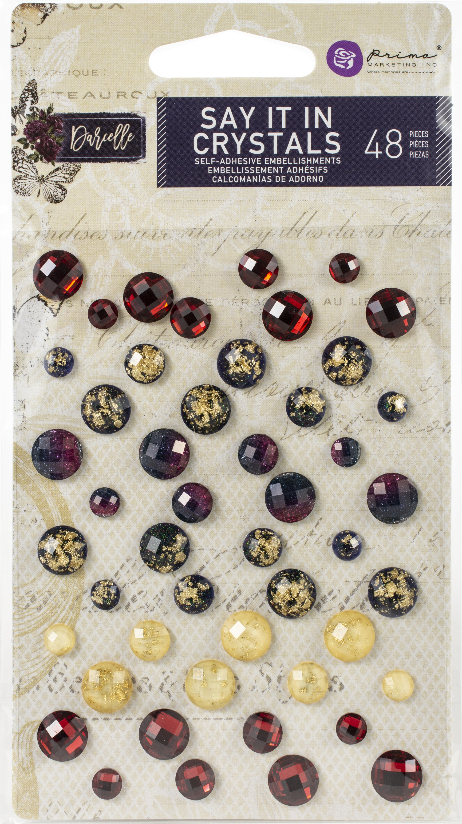 Darcelle Say It In Crystals-Assorted Dots 48/Pkg