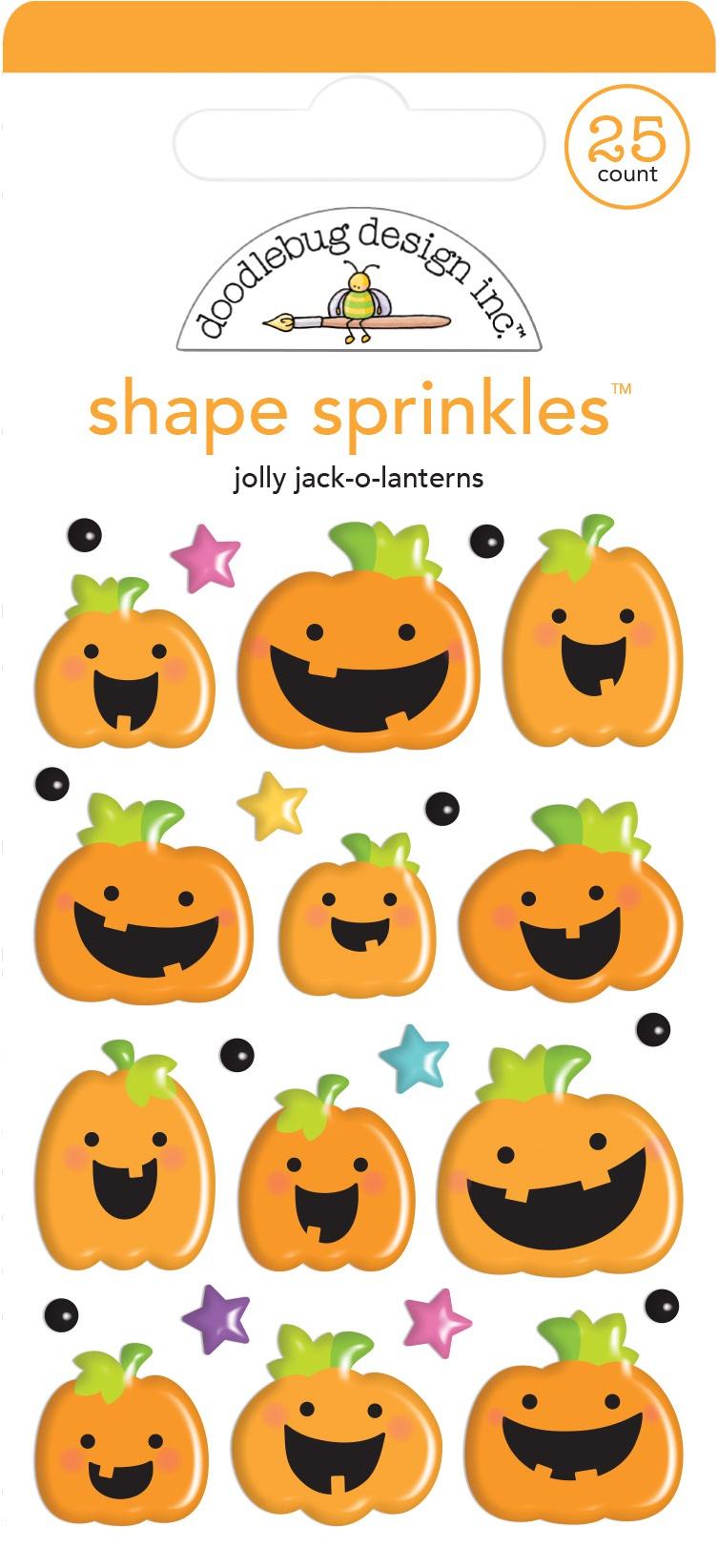 Doodlebug Sprinkles Adhesive Glossy Enamel Shapes-Jolly Jack-O-Lanterns, Candy C...