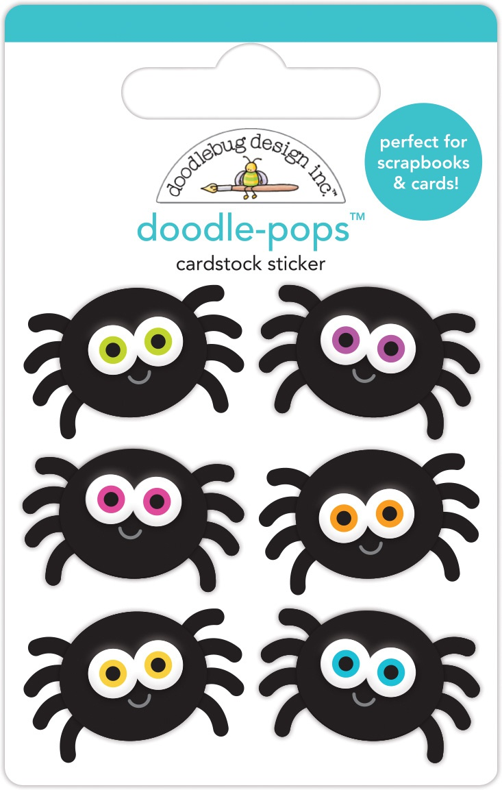 Doodlebug Doodle-Pops 3D Stickers-Silly Spiders, Candy Carnival
