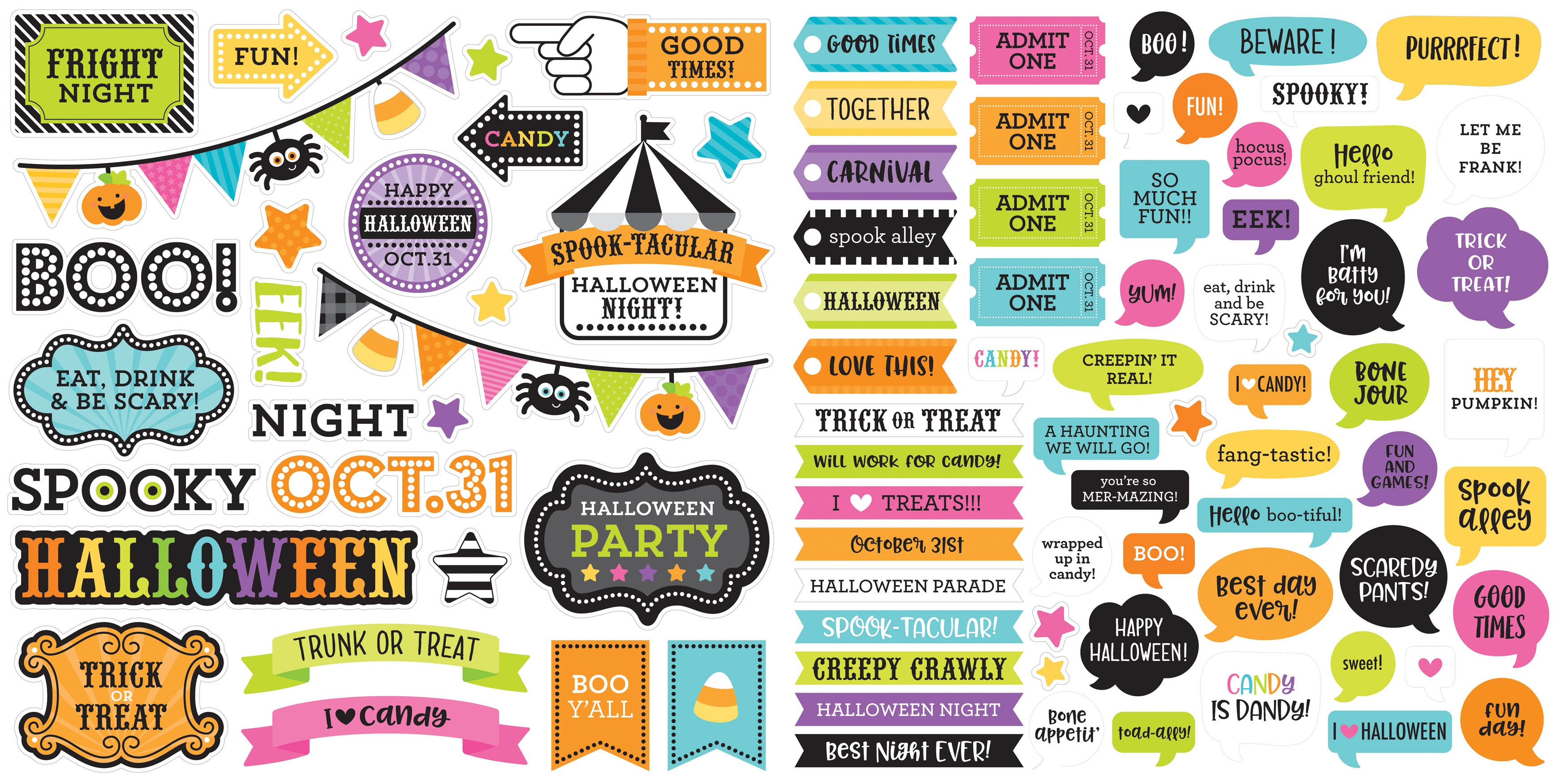 Doodlebug Odds & Ends Chit Chat Die-Cuts-Candy Carnival, 90/Pkg