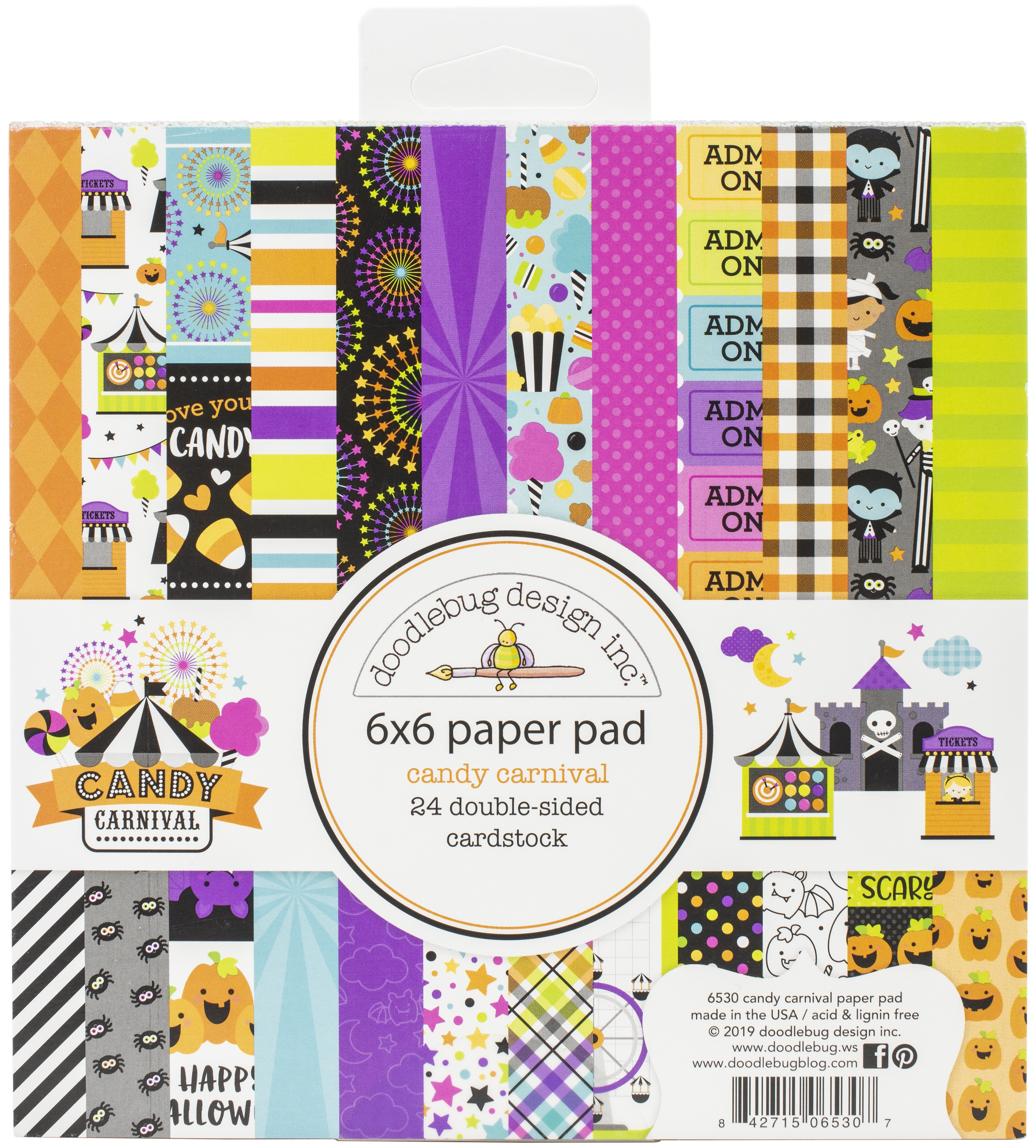 Doodlebug Double-Sided Paper Pad 6X6 24/Pkg-Candy Carnival, 12 Designs/2 Each