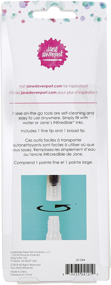 Jane Davenport Aqua Brushes 2/Pkg-1 Fine, 1 Broad