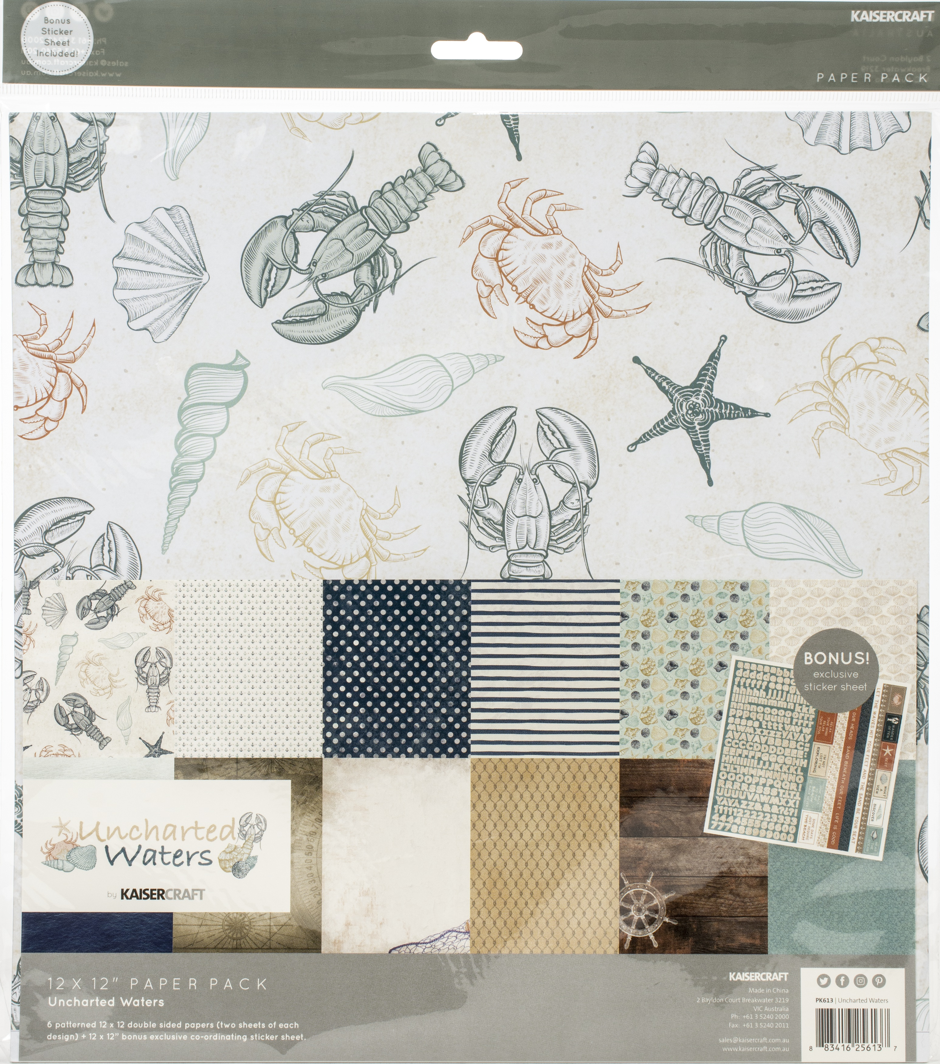 Kaisercraft Paper Pack 12X12 12/Pkg-Uncharted Waters