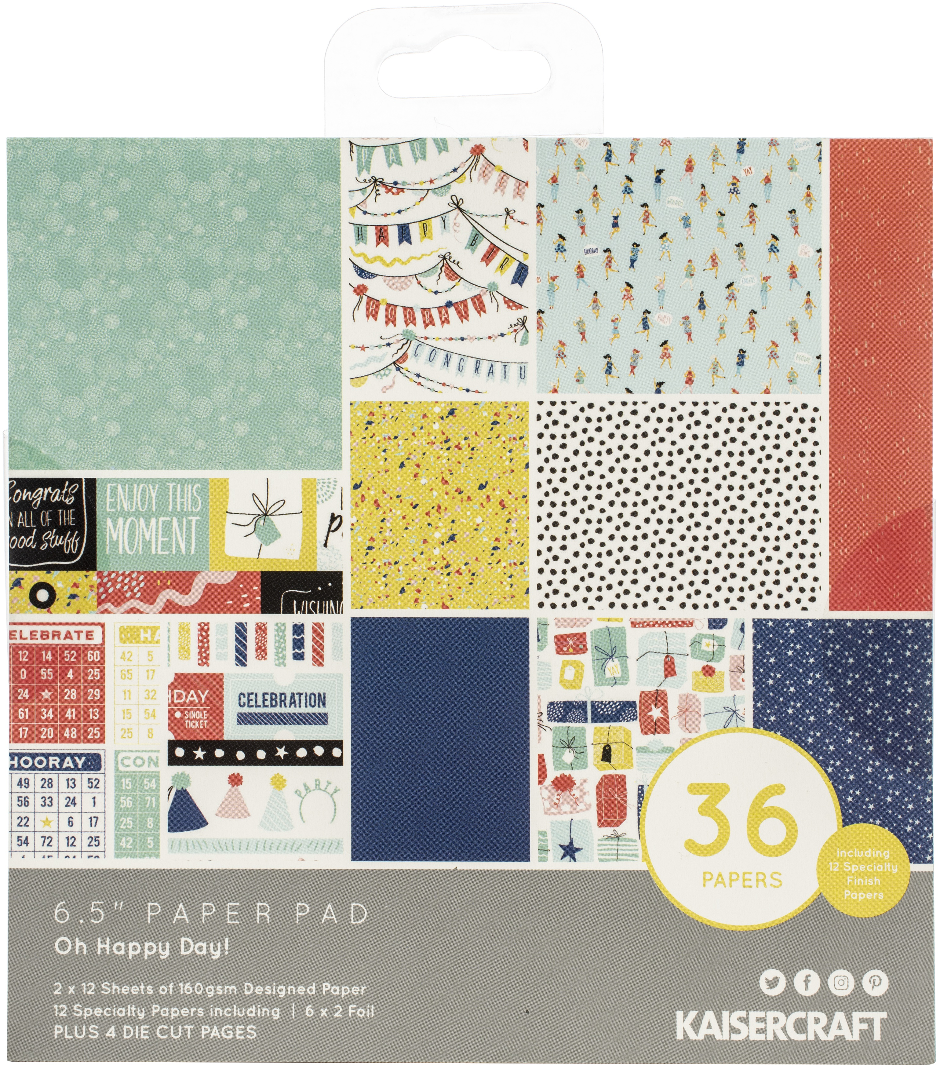 Kaisercraft Paper Pad 6.5X6.5 40/Pkg-Oh Happy Day!
