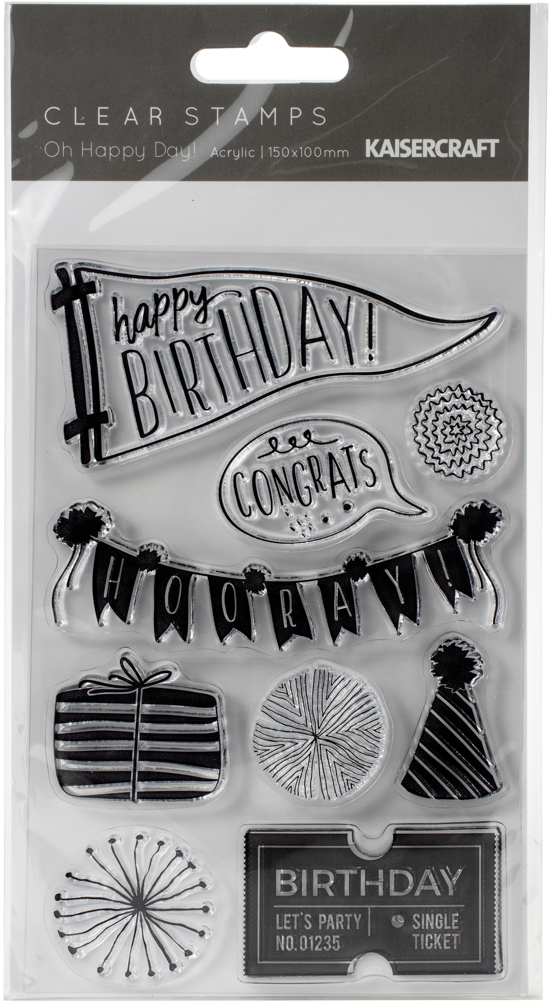 ^Kaisercraft Clear Stamps - Oh Happy Day!