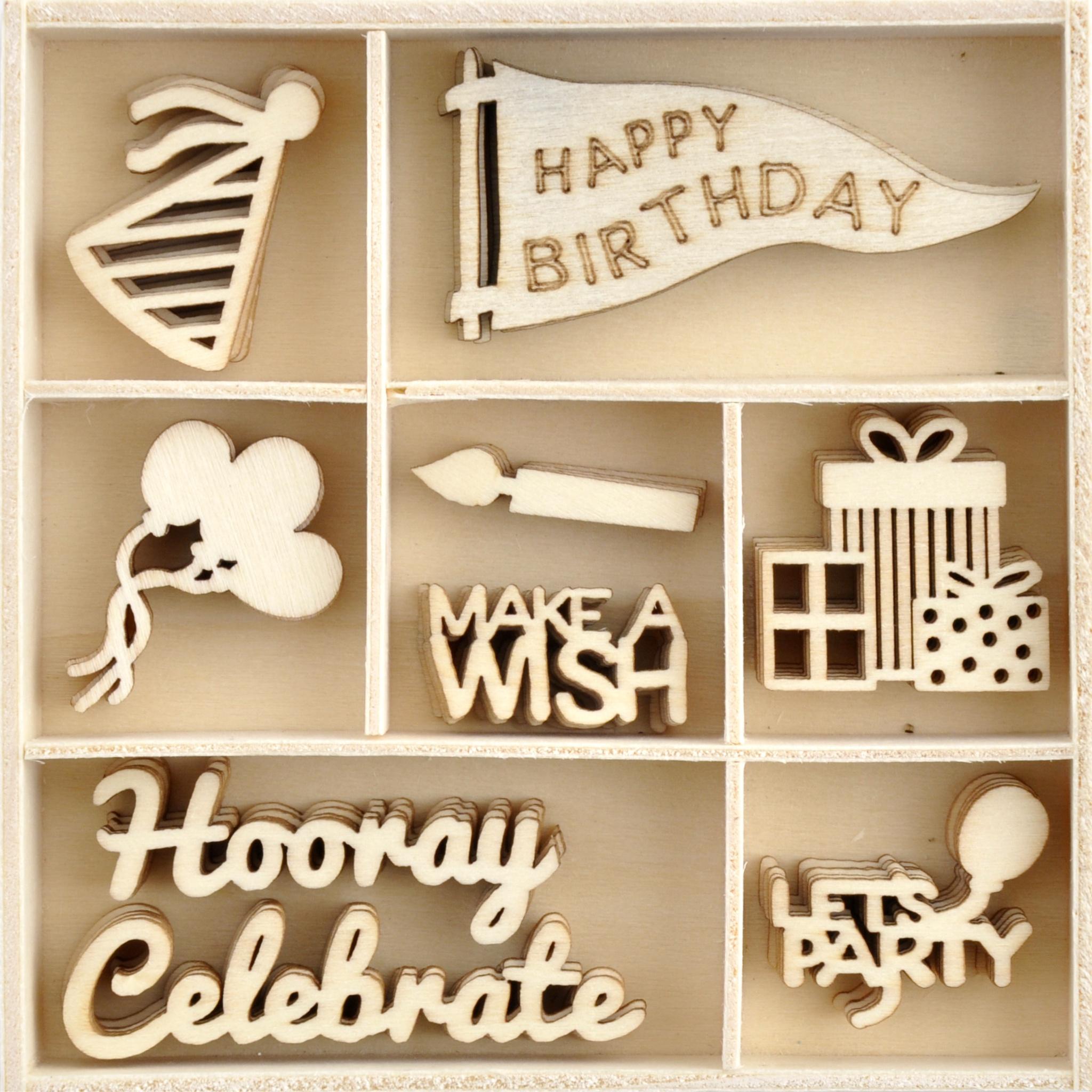 Kaisercraft Wood Mini Themed Embellishments-Oh Happy Day!