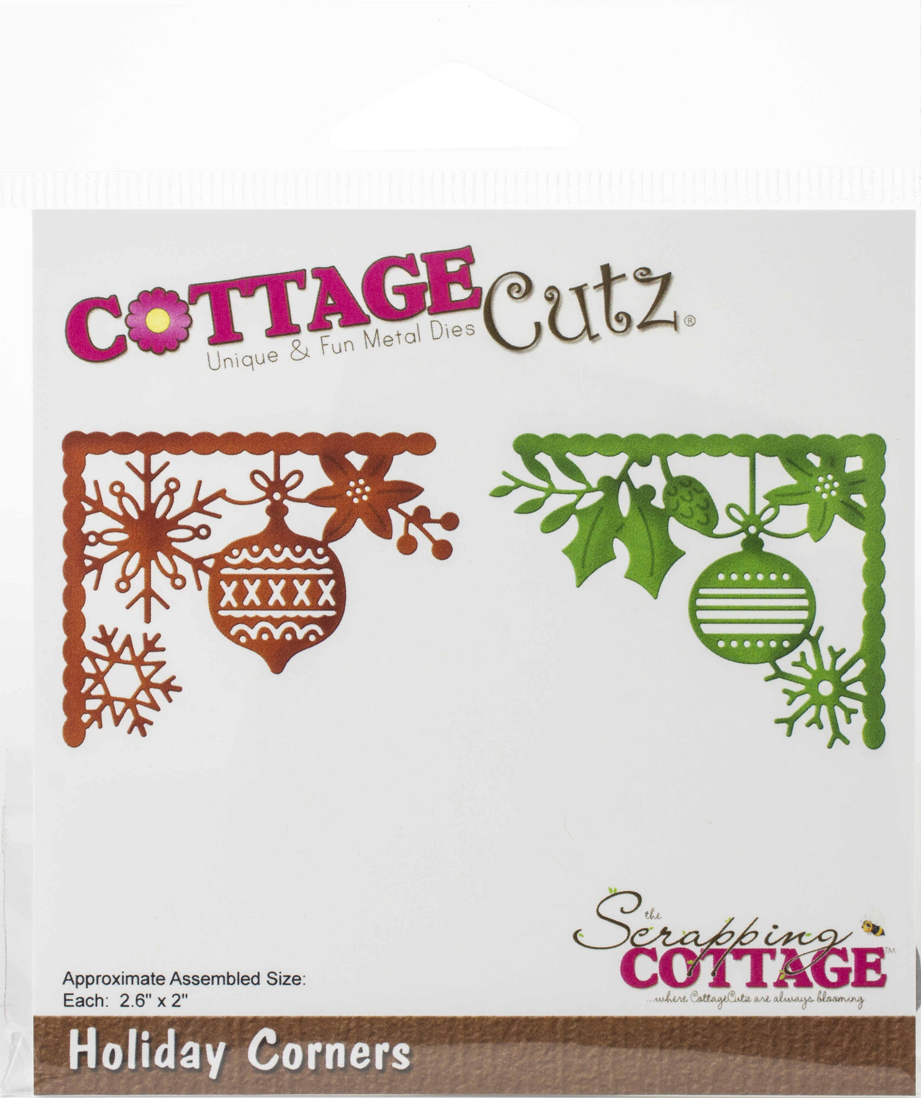 CottageCutz Dies-Holiday Corners, 2.6X2