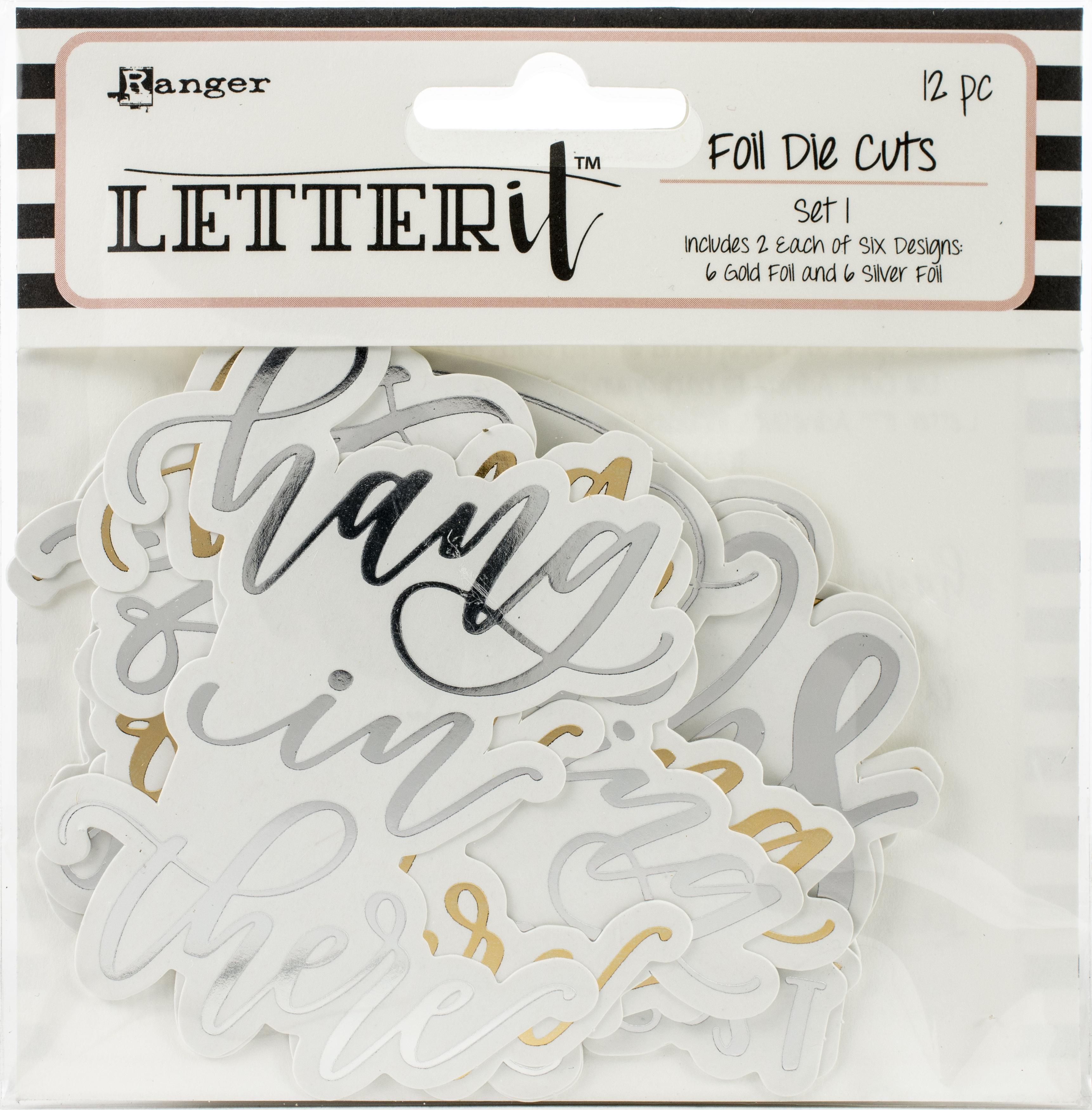 Ranger Letter It Foiled Sentiments Die-Cuts-Set 1