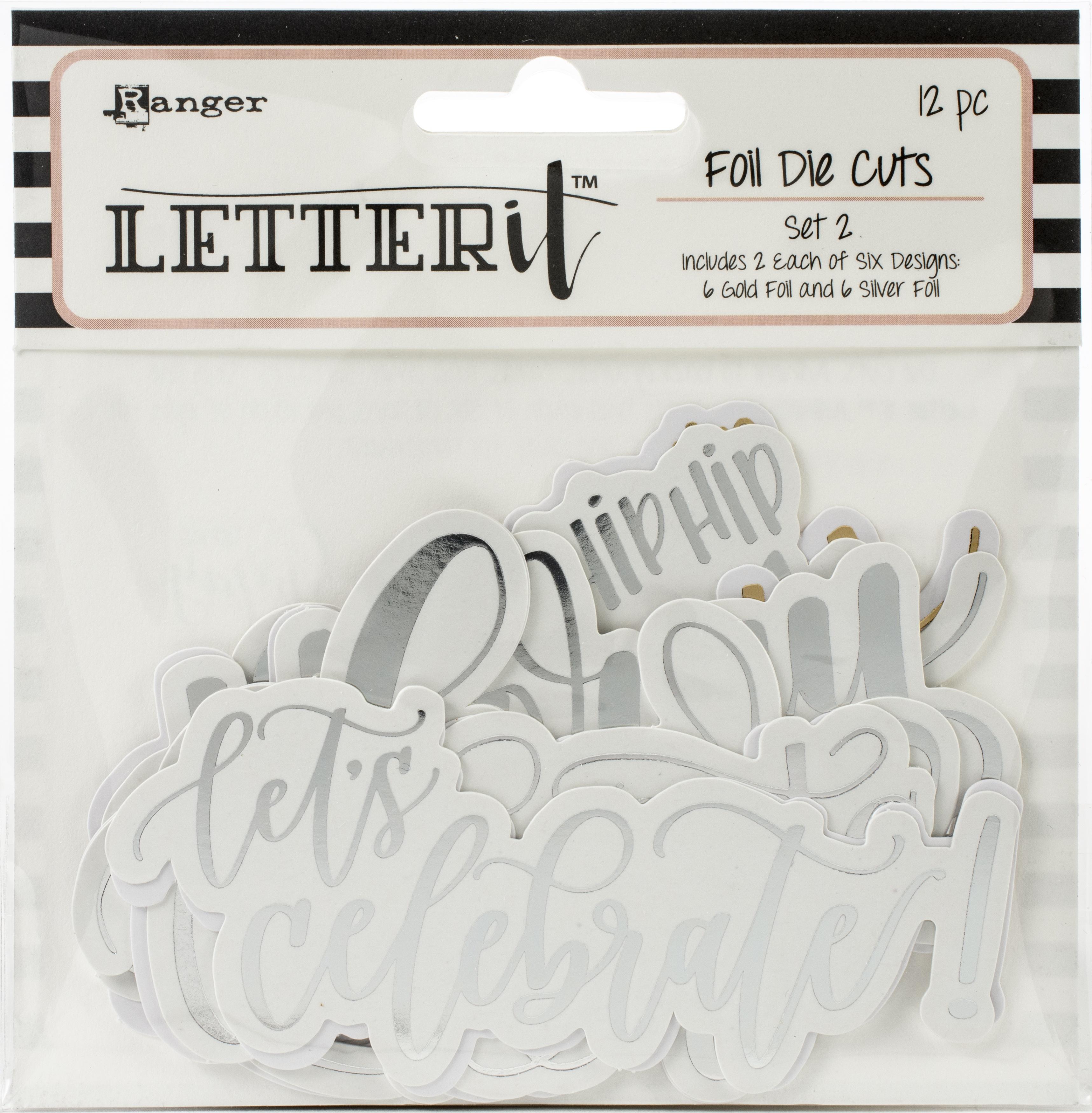 Ranger Letter It Foiled Sentiments Die-Cuts-Set 2