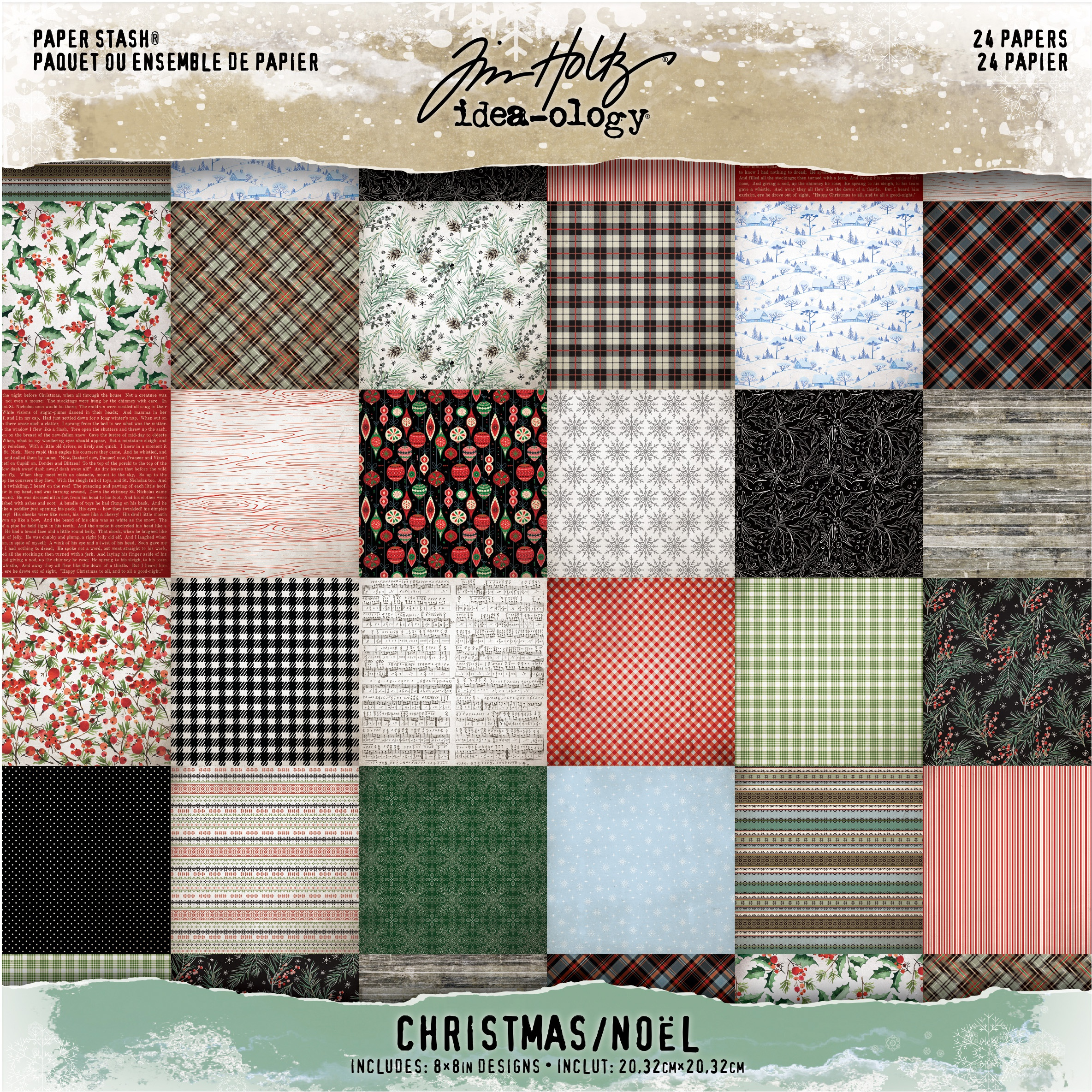 Idea-Ology Paper Stash Double-Sided Paper Pad 8X8 24/Pkg-Christmas, 12 Designs...