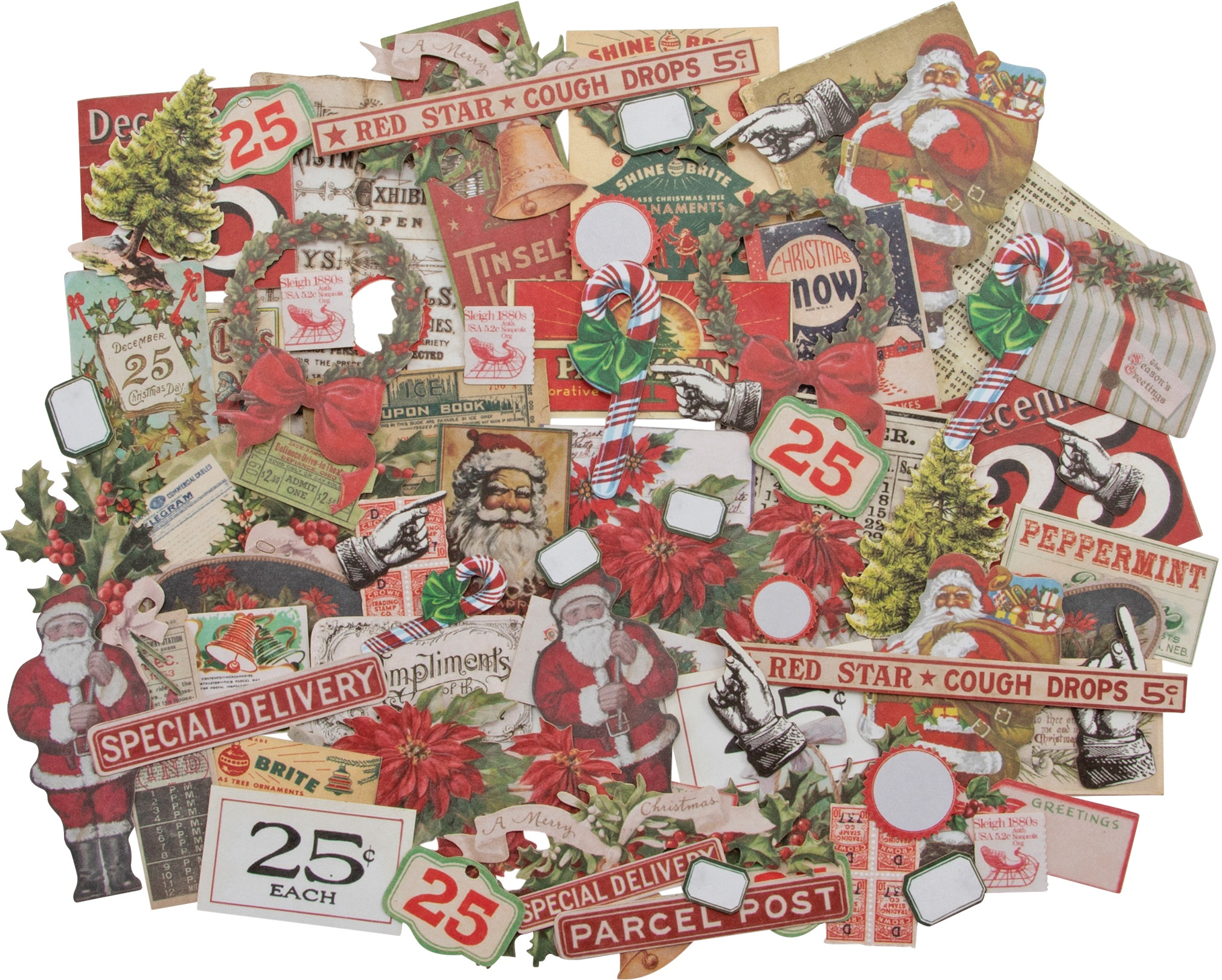 Idea-Ology Ephemera Pack 81/Pkg-Snippets Tiny Die-Cuts/Christmas