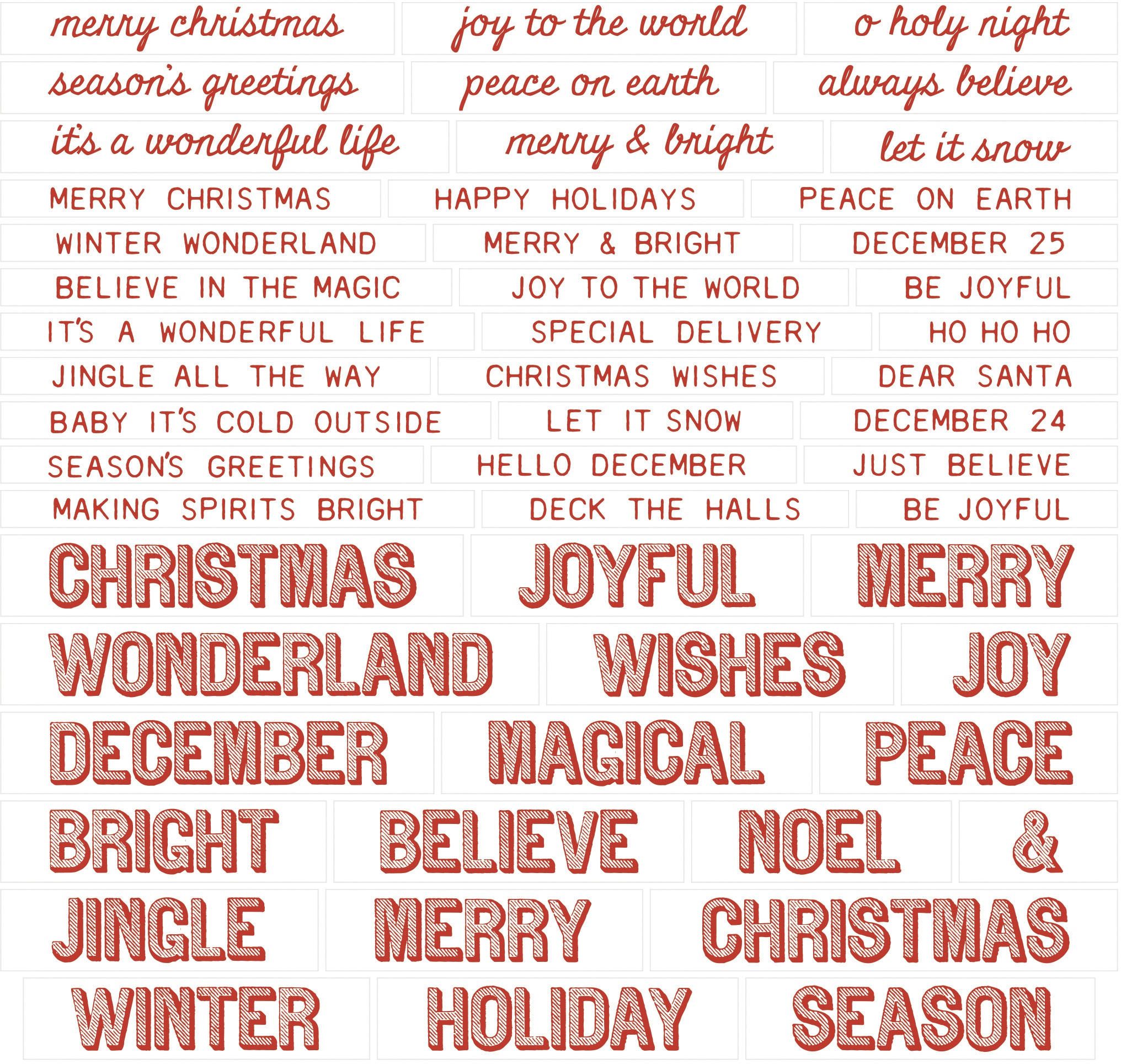 Idea-Ology Chipboard Quote Chips 52/Pkg-Christmas, Words & Phrases