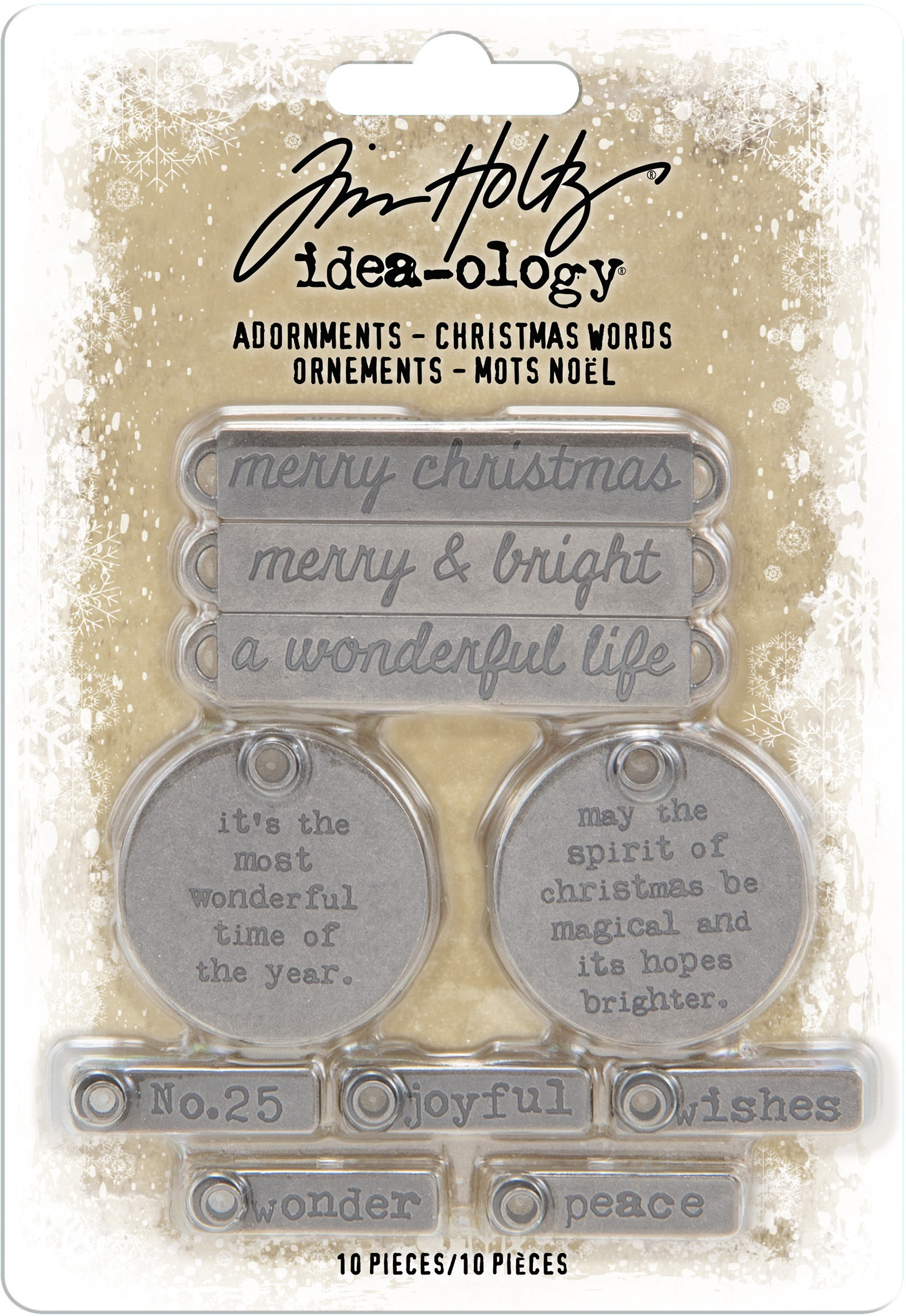Idea-Ology Metal Adornments 10/Pkg-Antique Nickel Christmas Words