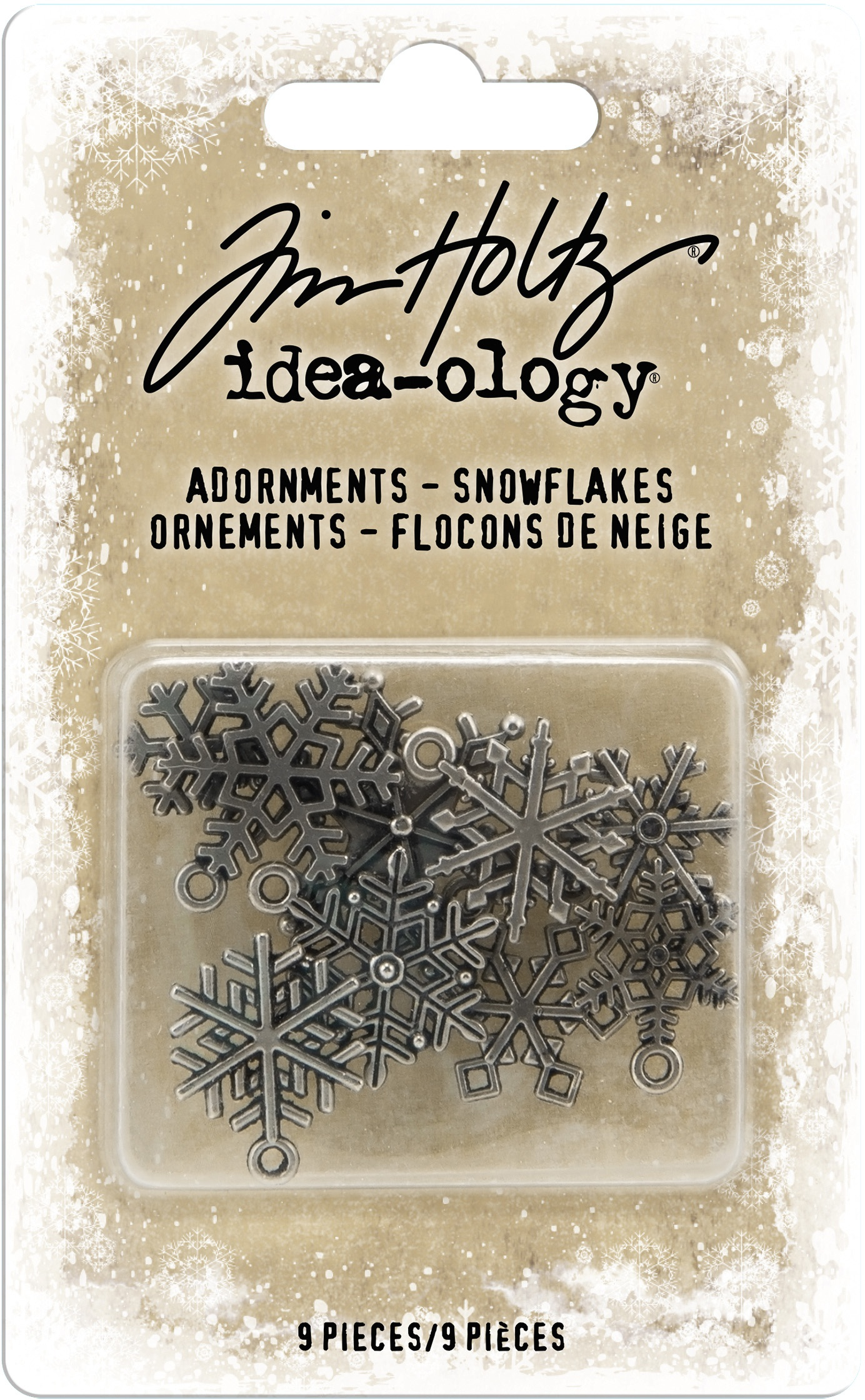 Idea-Ology Metal Adornments 9/Pkg-Antique Nickel Snowflakes