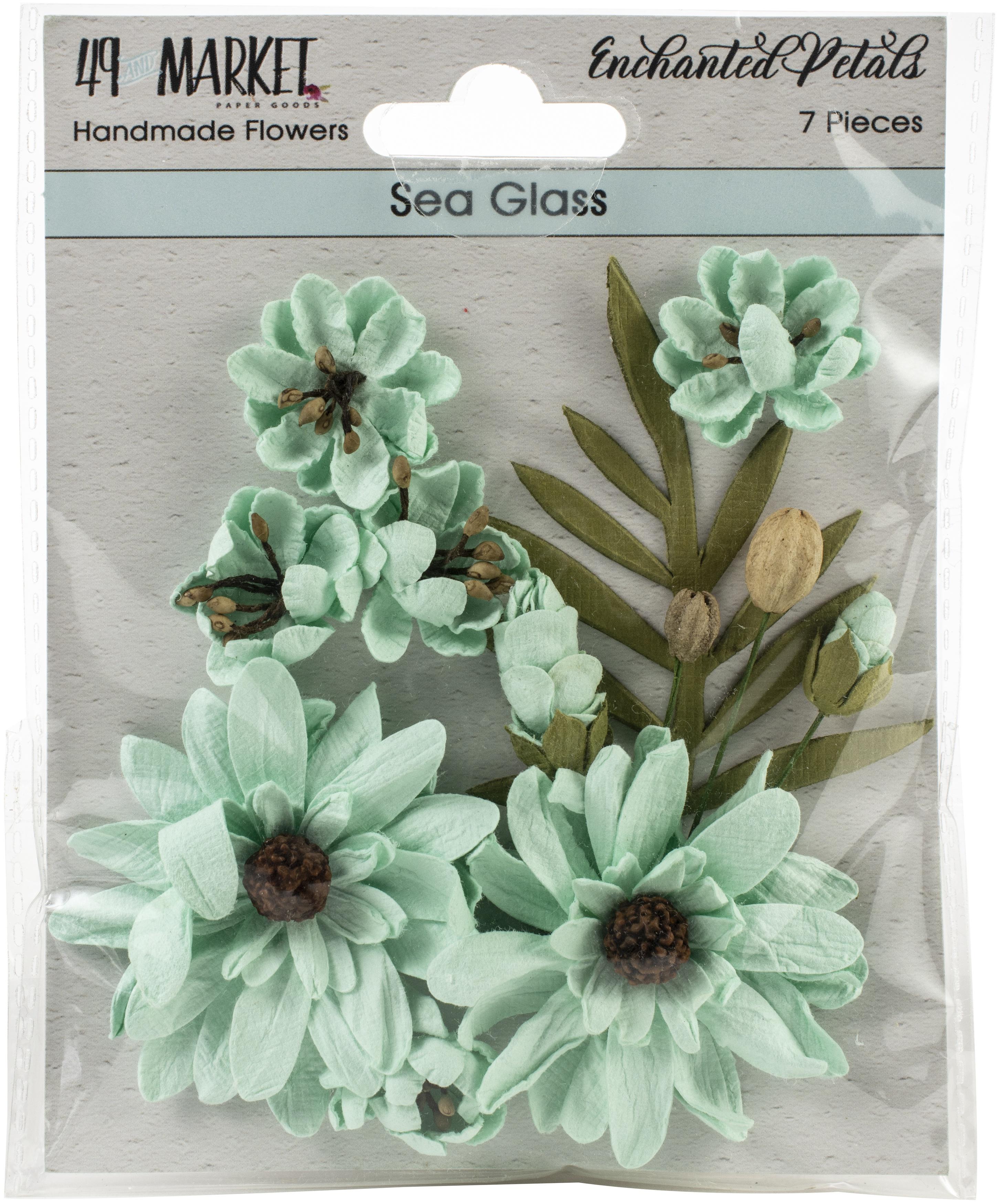 49 And Market Enchanted Petals 7/Pkg-Sea Glass