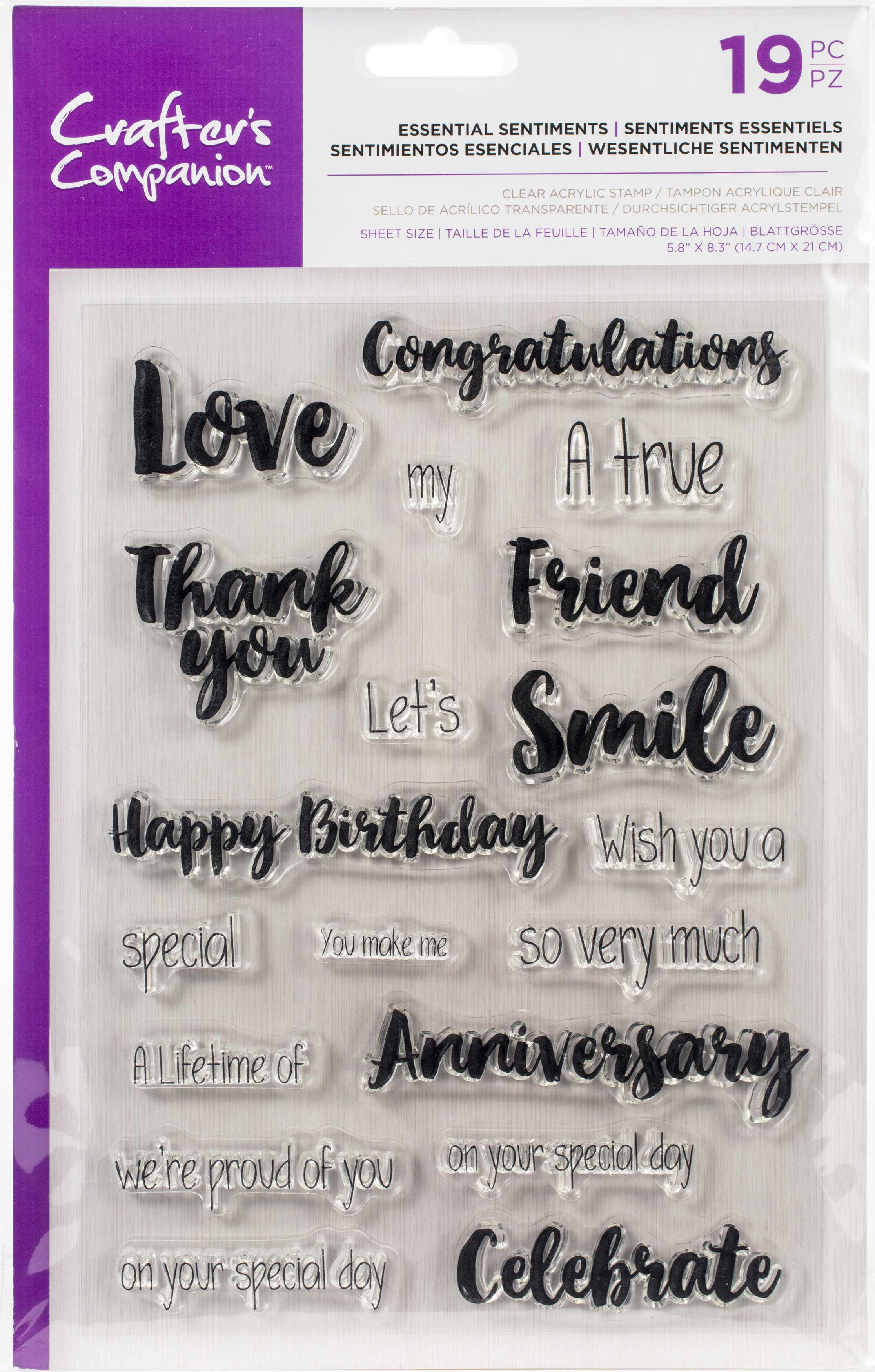Crafter's Companion Clear Stamps - Essential Sentiments