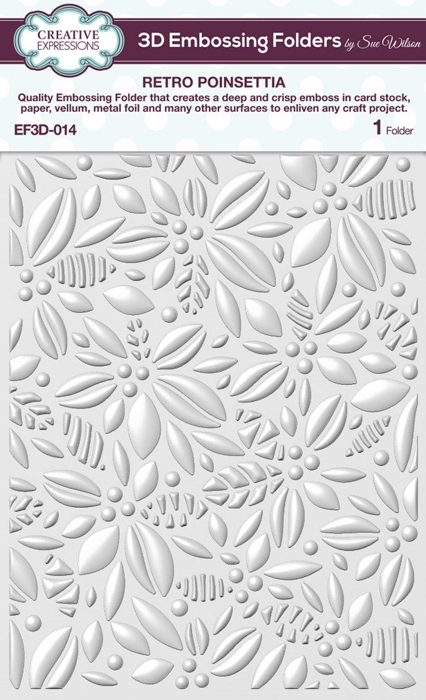 Creative Expressions 3D Embossing Folder 5.75X7.5-Retro Poinsettia