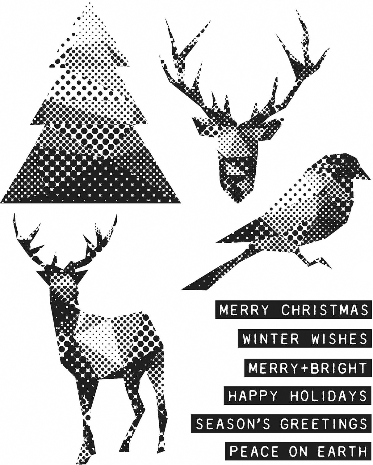 Tim Holtz Cling Stamps 7X8.5-Modern Christmas
