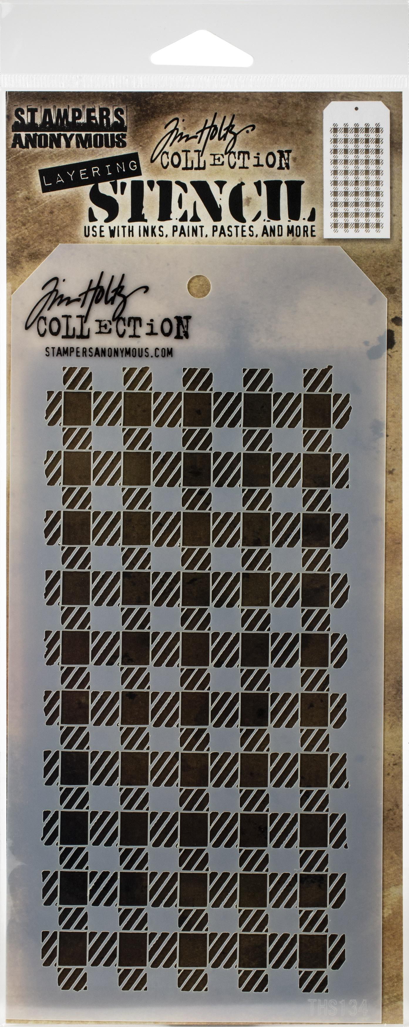 Tim Holtz Layered Stencil 4.125X8.5-Gingham