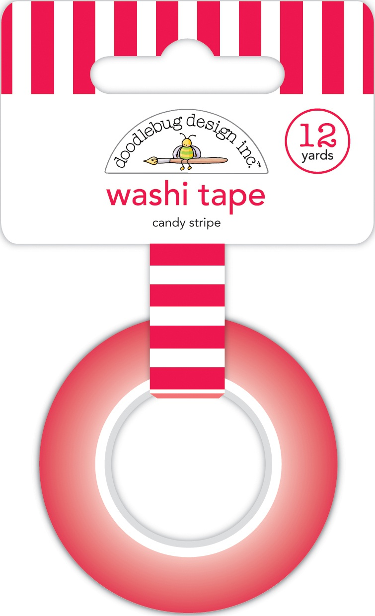 Doodlebug Washi Tape 15mmX12yd-Candy Stripe, Christmas Magic