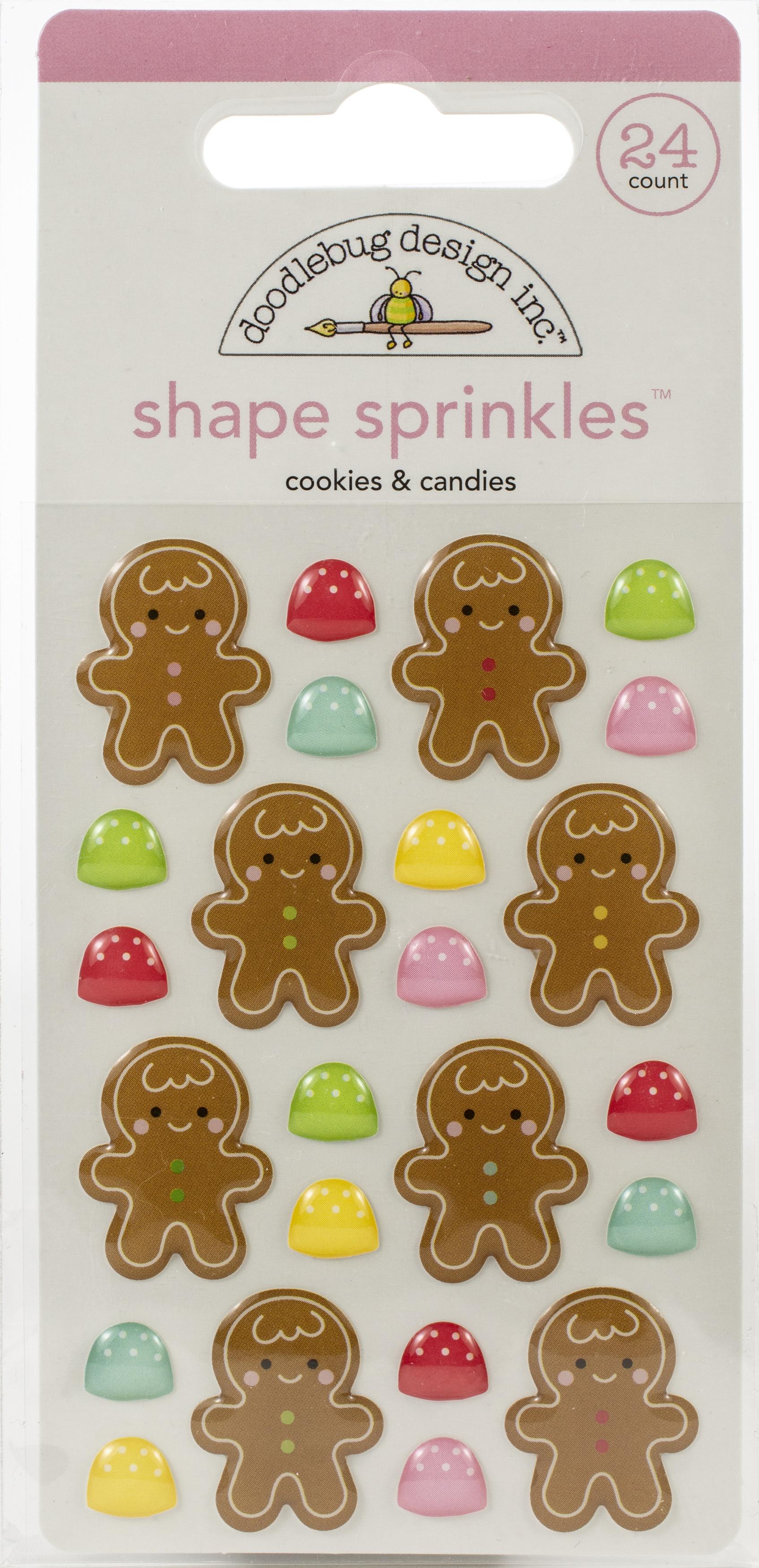 Doodlebug Sprinkles Adhesive Enamel Shapes-Cookies & Candies, Christmas Magic