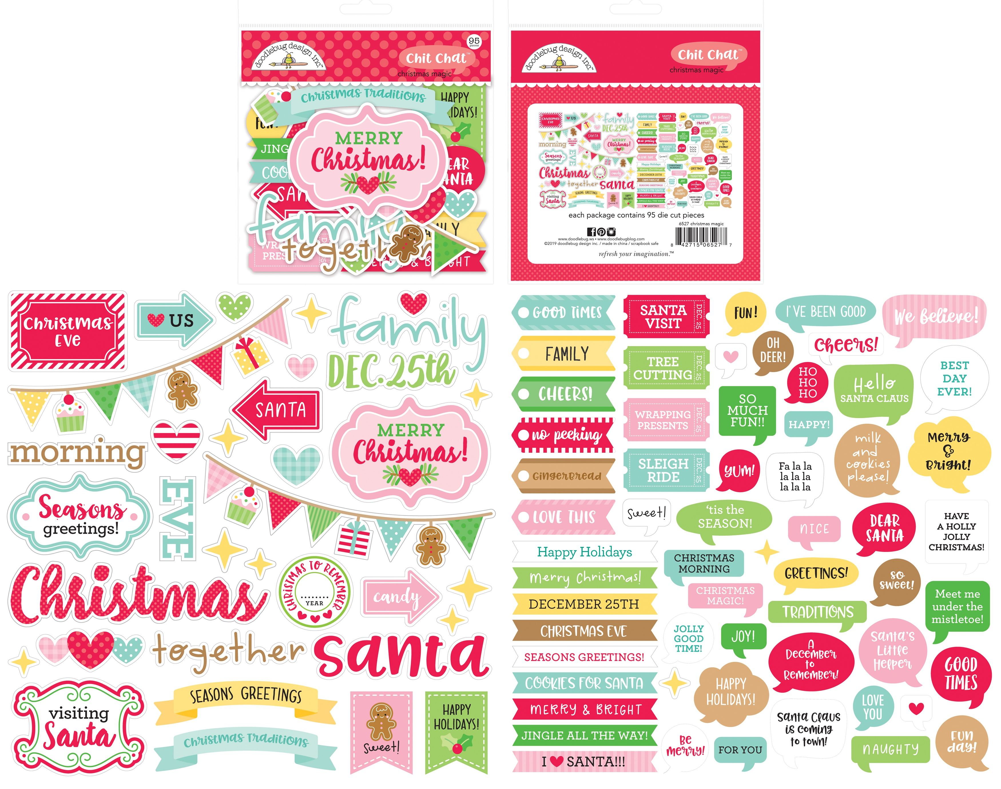 Doodlebug Odds & Ends Chit Chat Die-Cuts-Christmas Magic, 95/Pkg