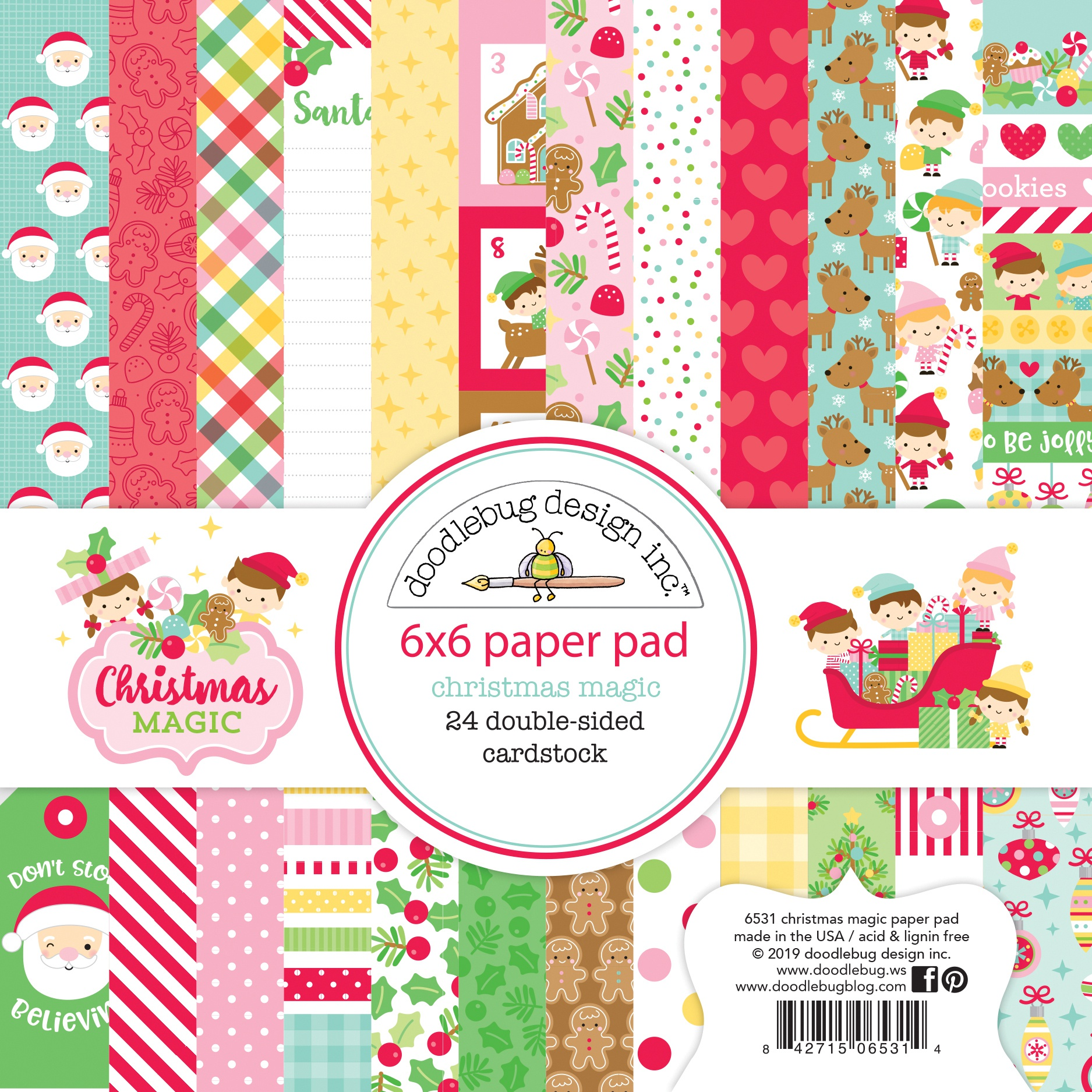 Doodlebug Double-Sided Paper Pad 6X6 24/Pkg-Christmas Magic, 12 Designs/2 Each
