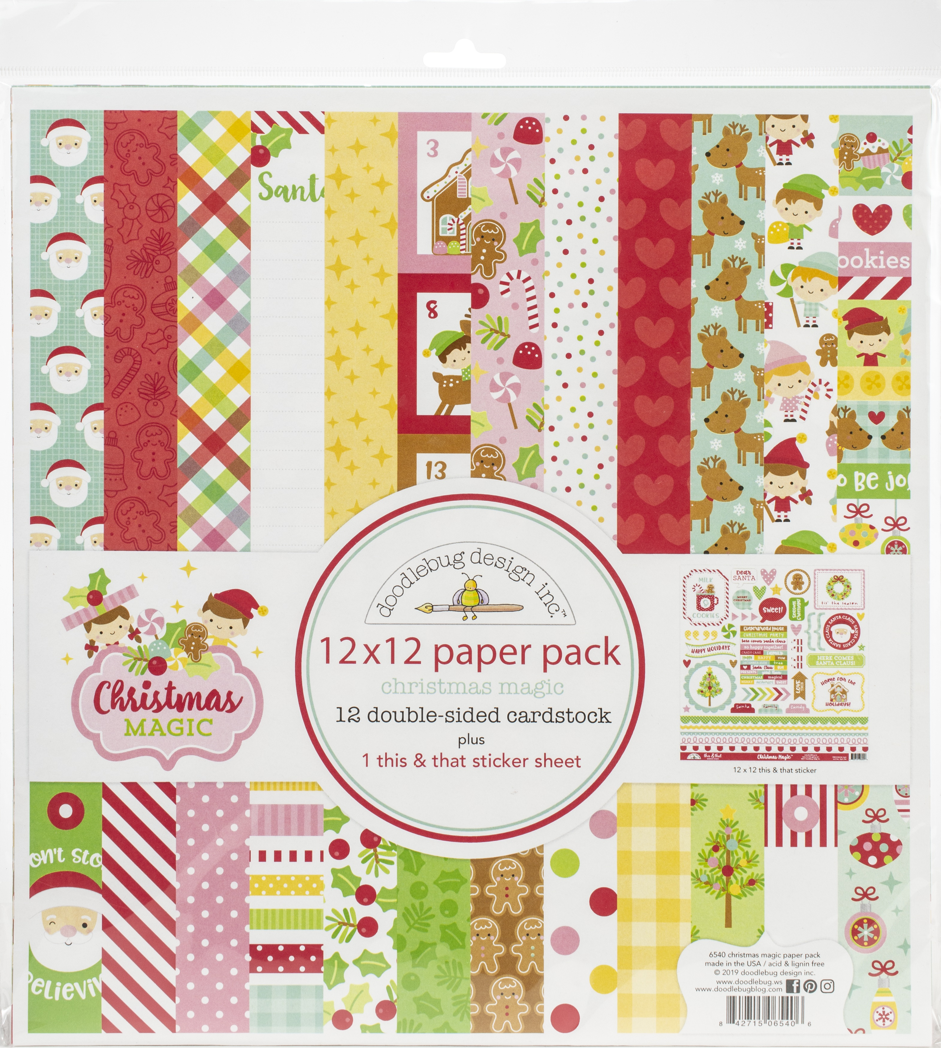 Doodlebug Double-Sided Paper Pack 12X12 12/Pkg-Christmas Magic