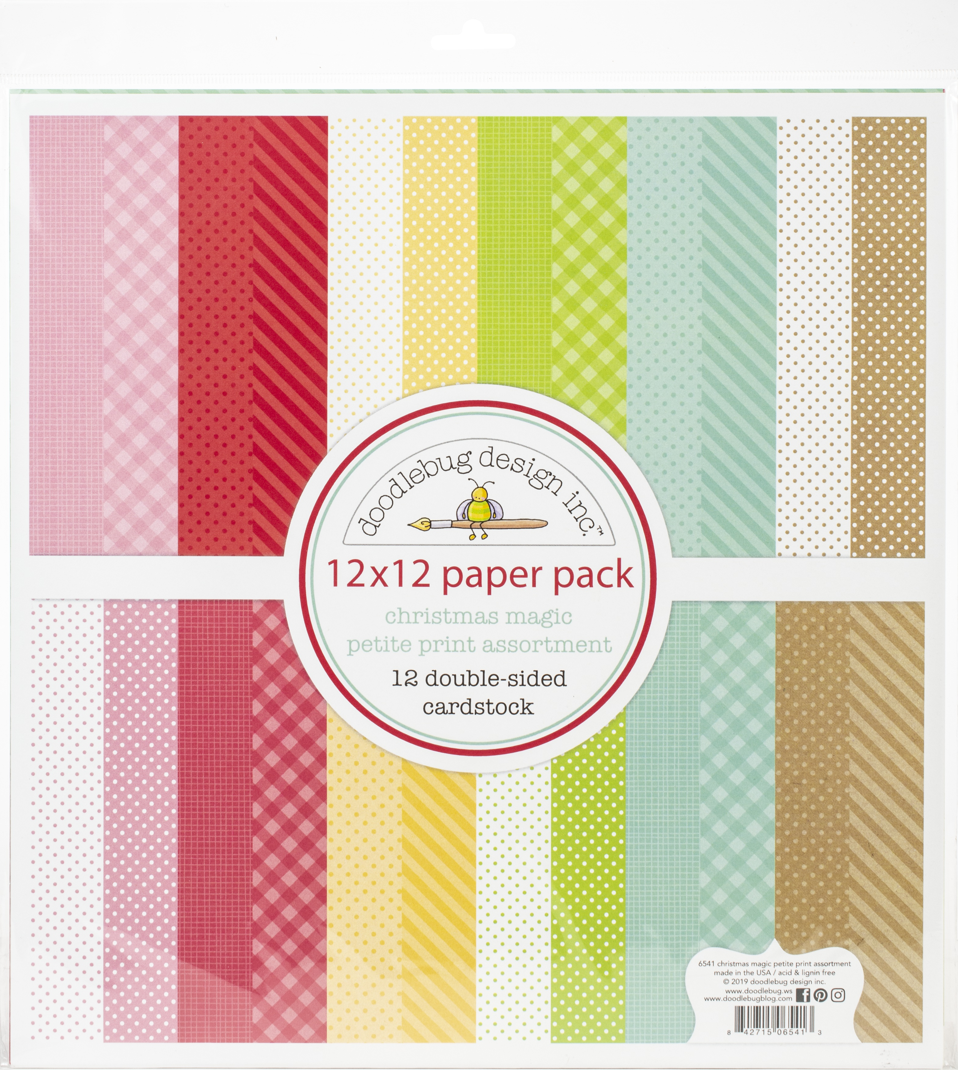Doodlebug Petite Prints Double-Sided Cardstock 12X12 12/Pk-Christmas Magic, 12...