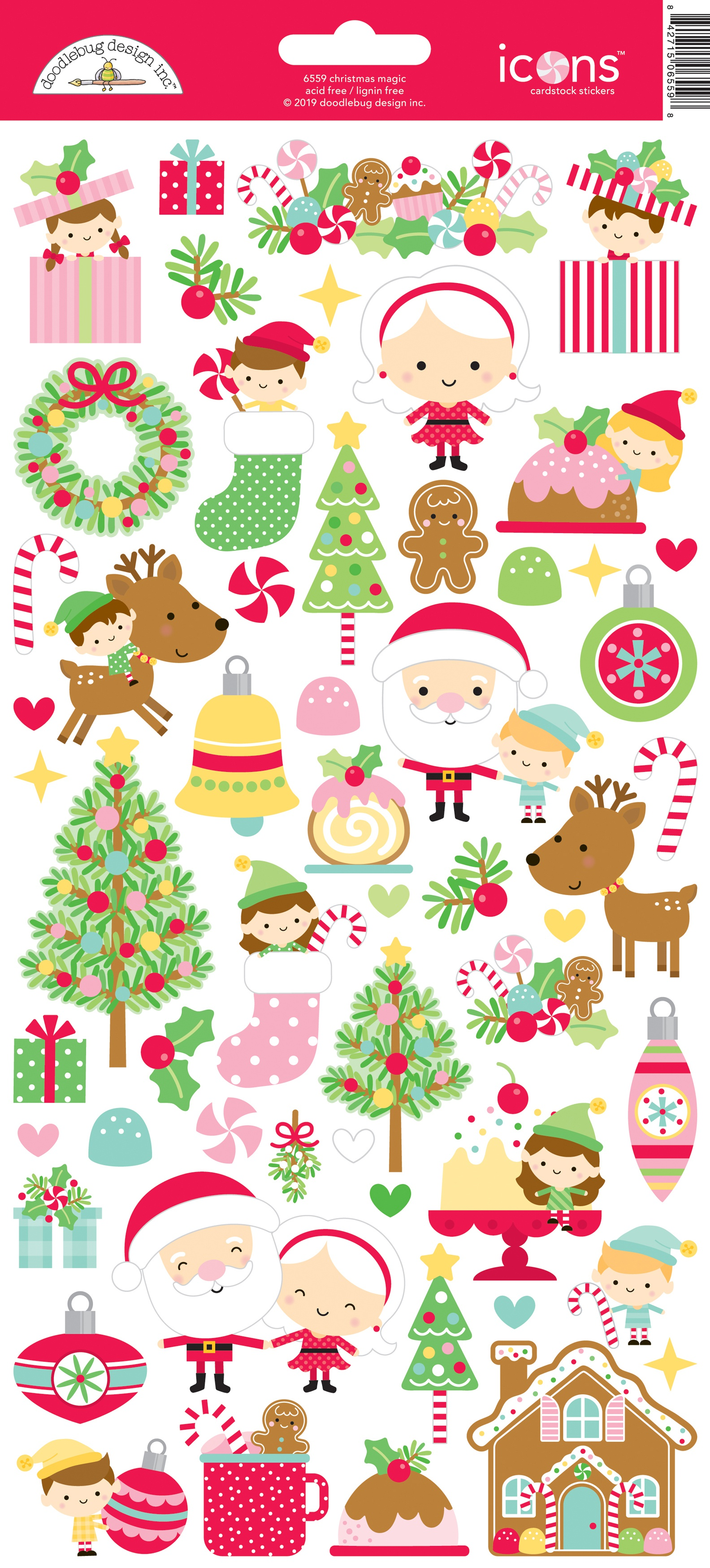 Doodlebug Cardstock Stickers 6X13-Christmas Magic Icons