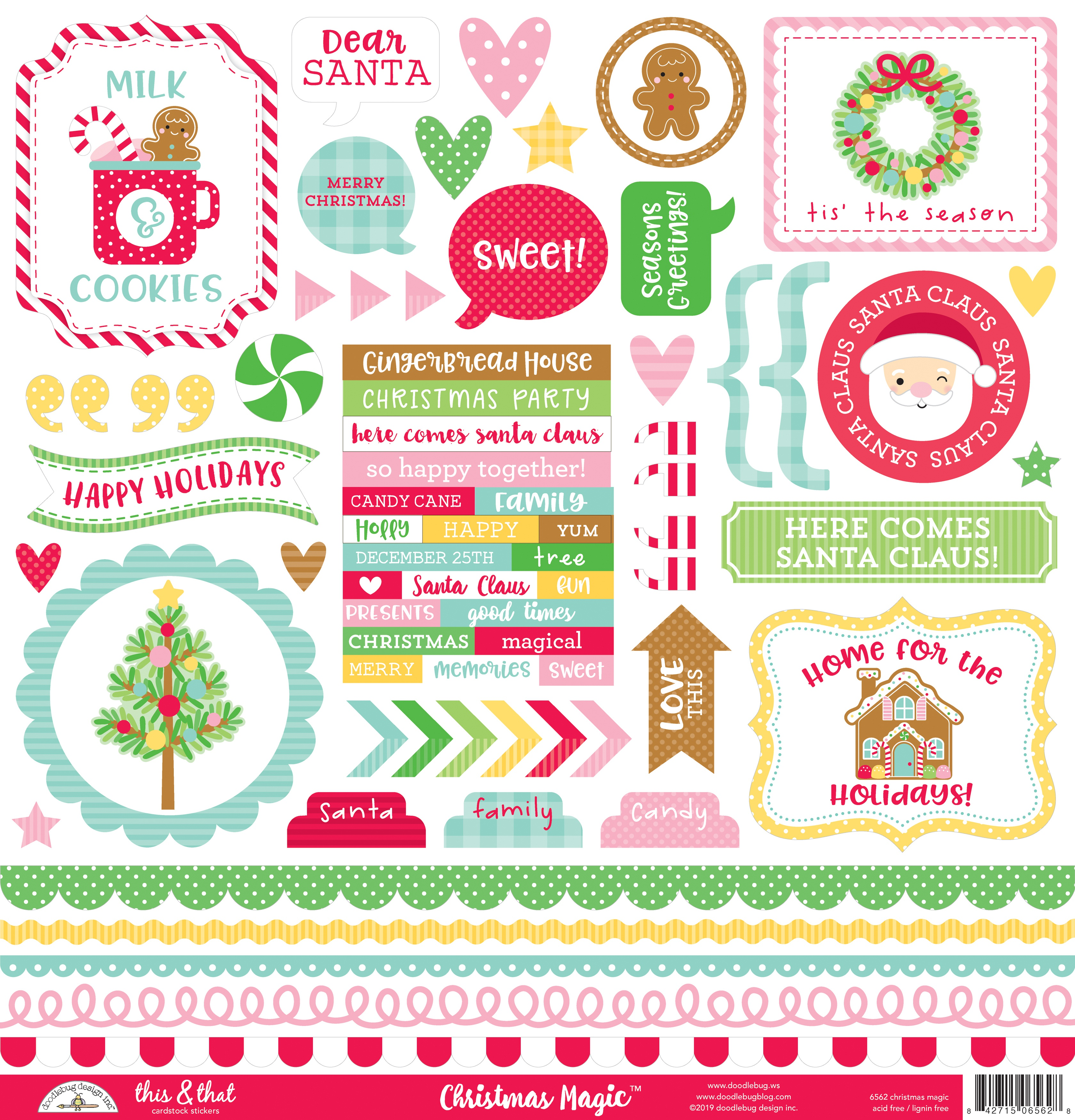 Doodlebug This & That Cardstock Stickers 12X12-Christmas Magic