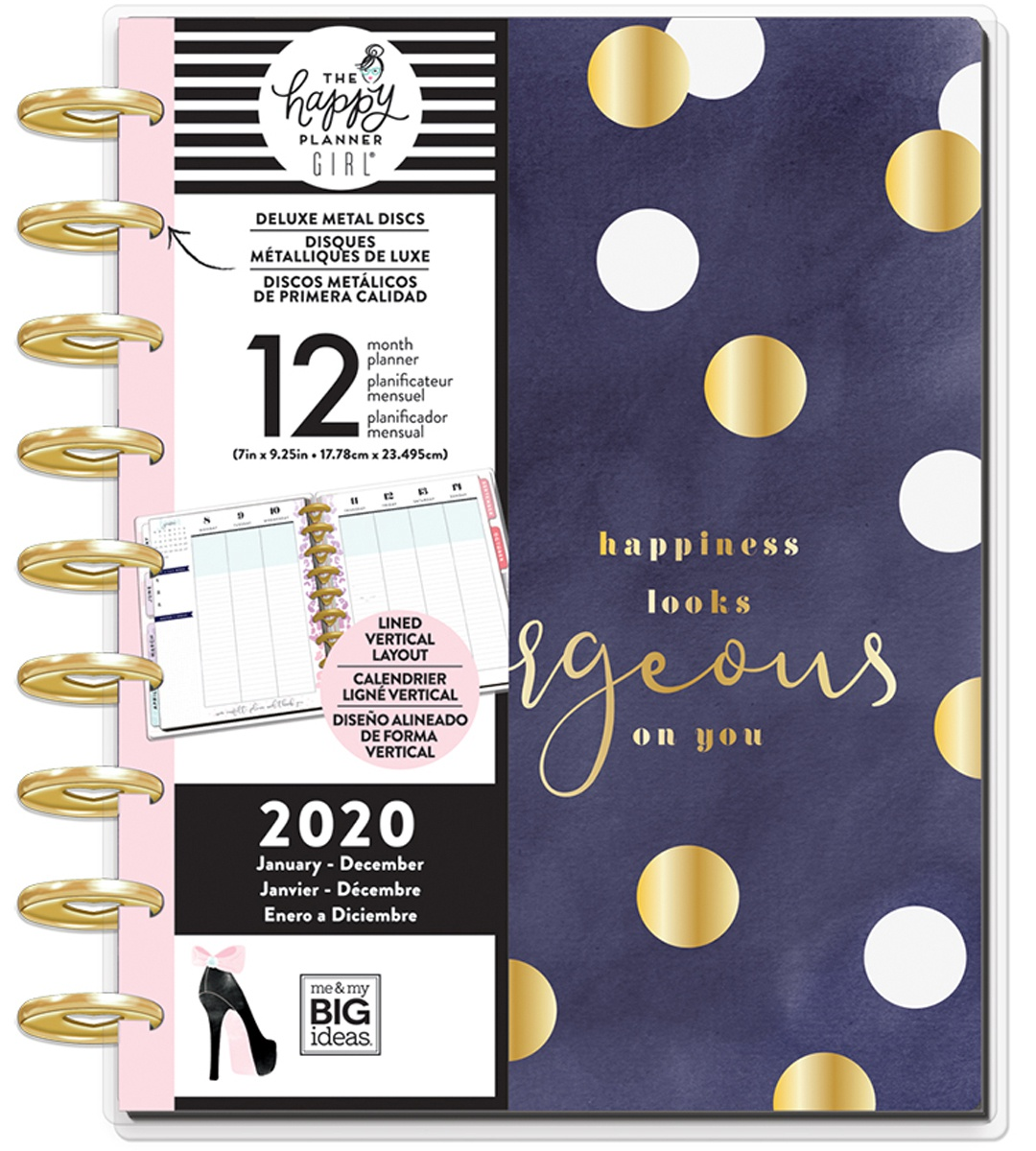 Happy Planner 12-Month Dated Deluxe Classic Planner 9.25X7-Glam Girl Gorgeous,...