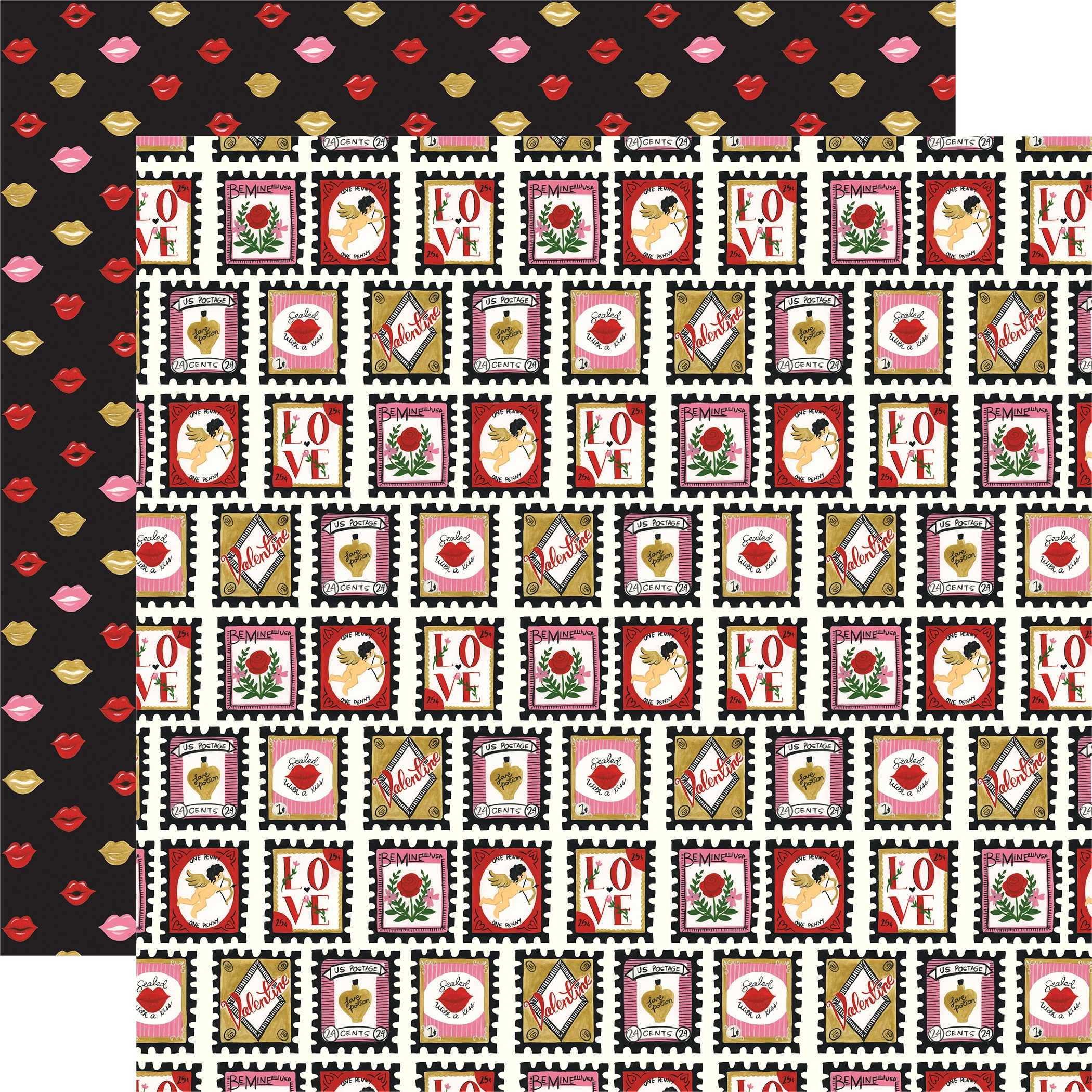 Be My Valentine Double-Sided Cardstock 12X12-Love Stamps