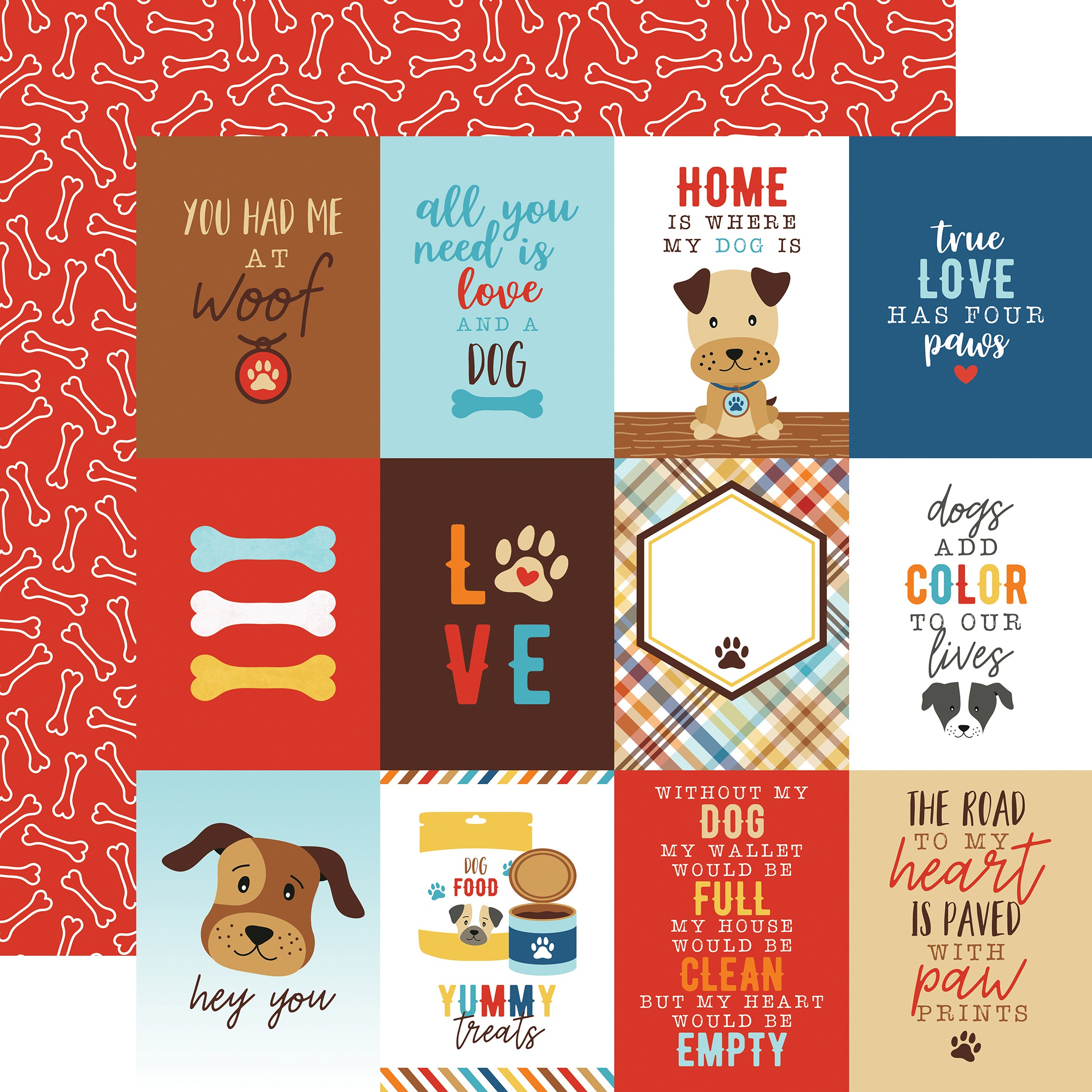 I Love My Dog Double-Sided Cardstock 12X12-3X4 Journaling Cards