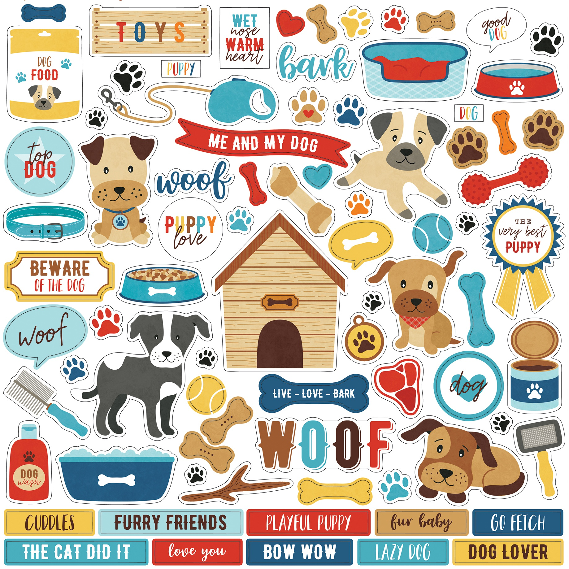 I Love My Dog Cardstock Stickers 12X12-Elements