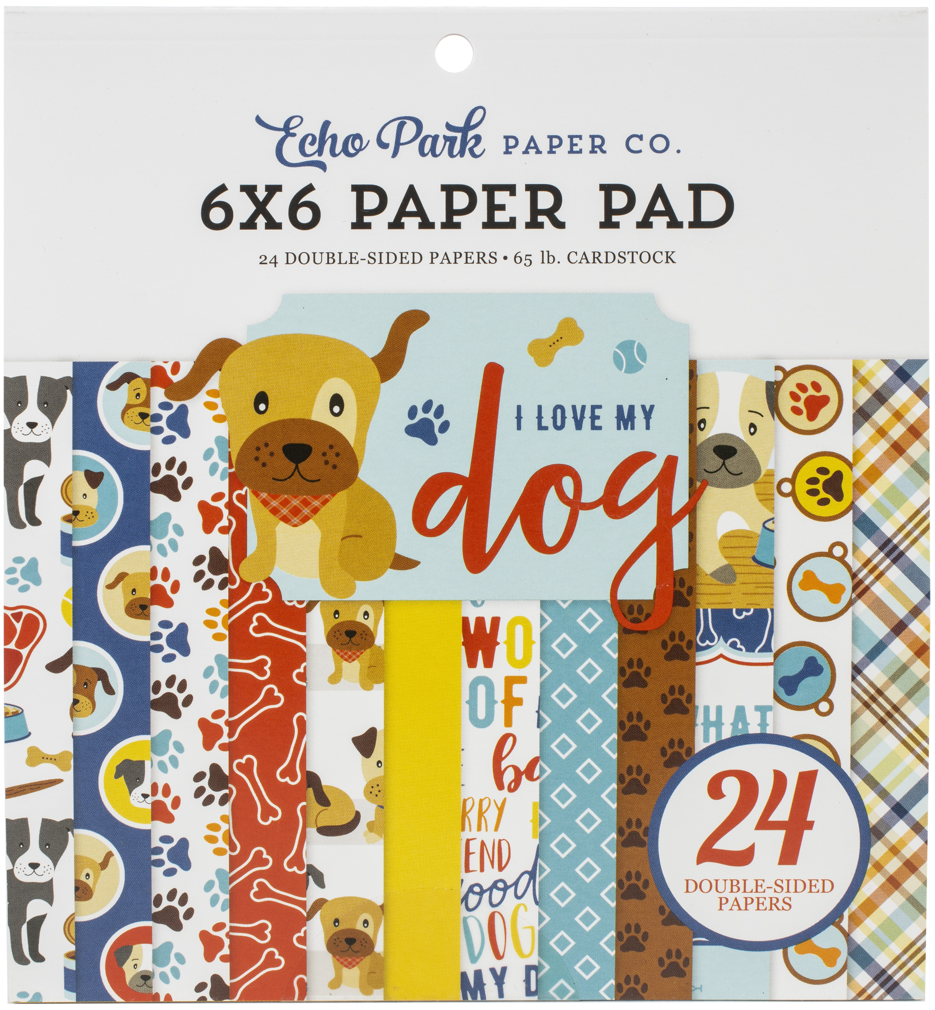 Echo Park Double-Sided Paper Pad 6X6 24/Pkg-I Love My Dog, 12 Designs/2 Each