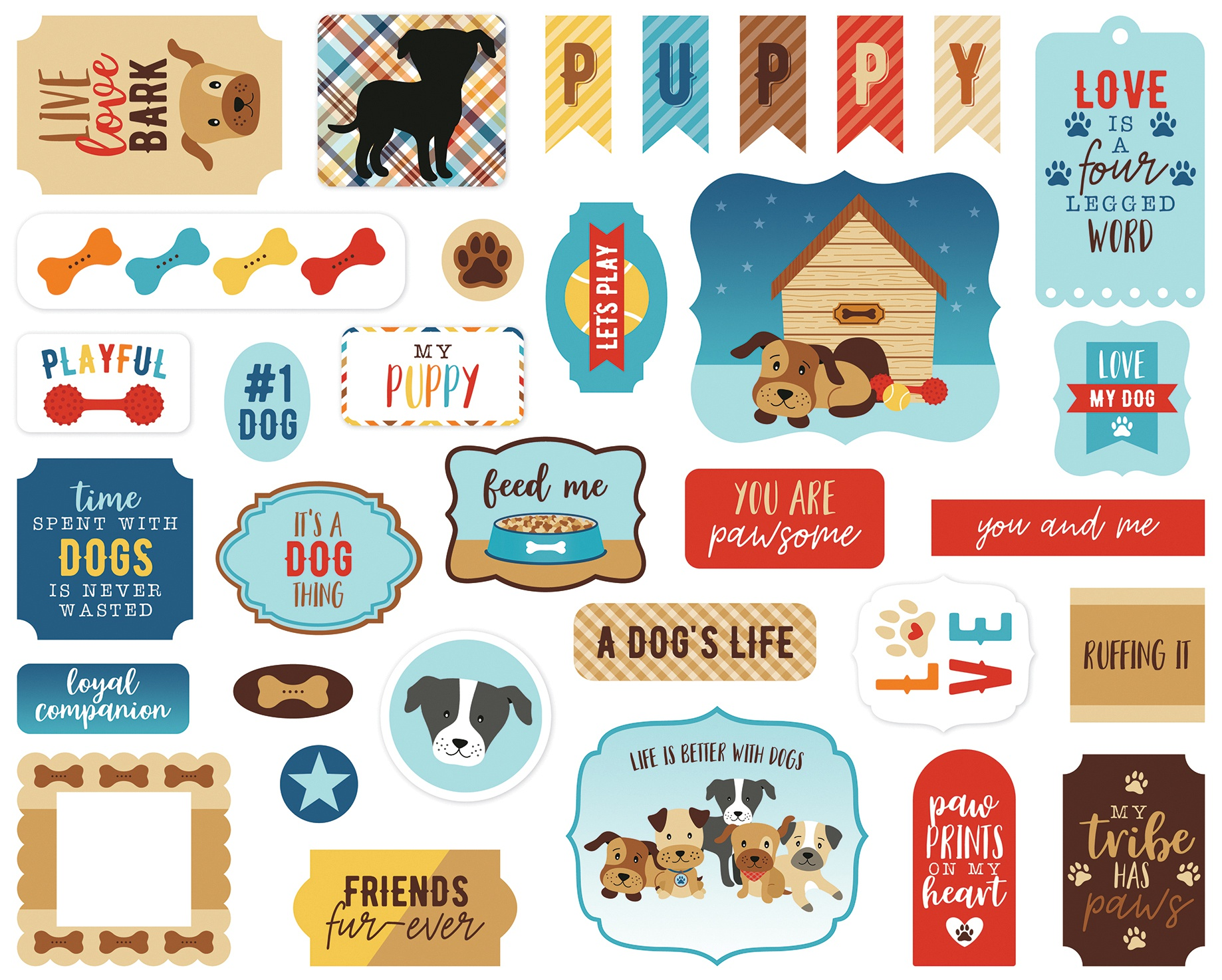 Echo Park Cardstock Ephemera 33/Pkg-Icons, I Love My Dog