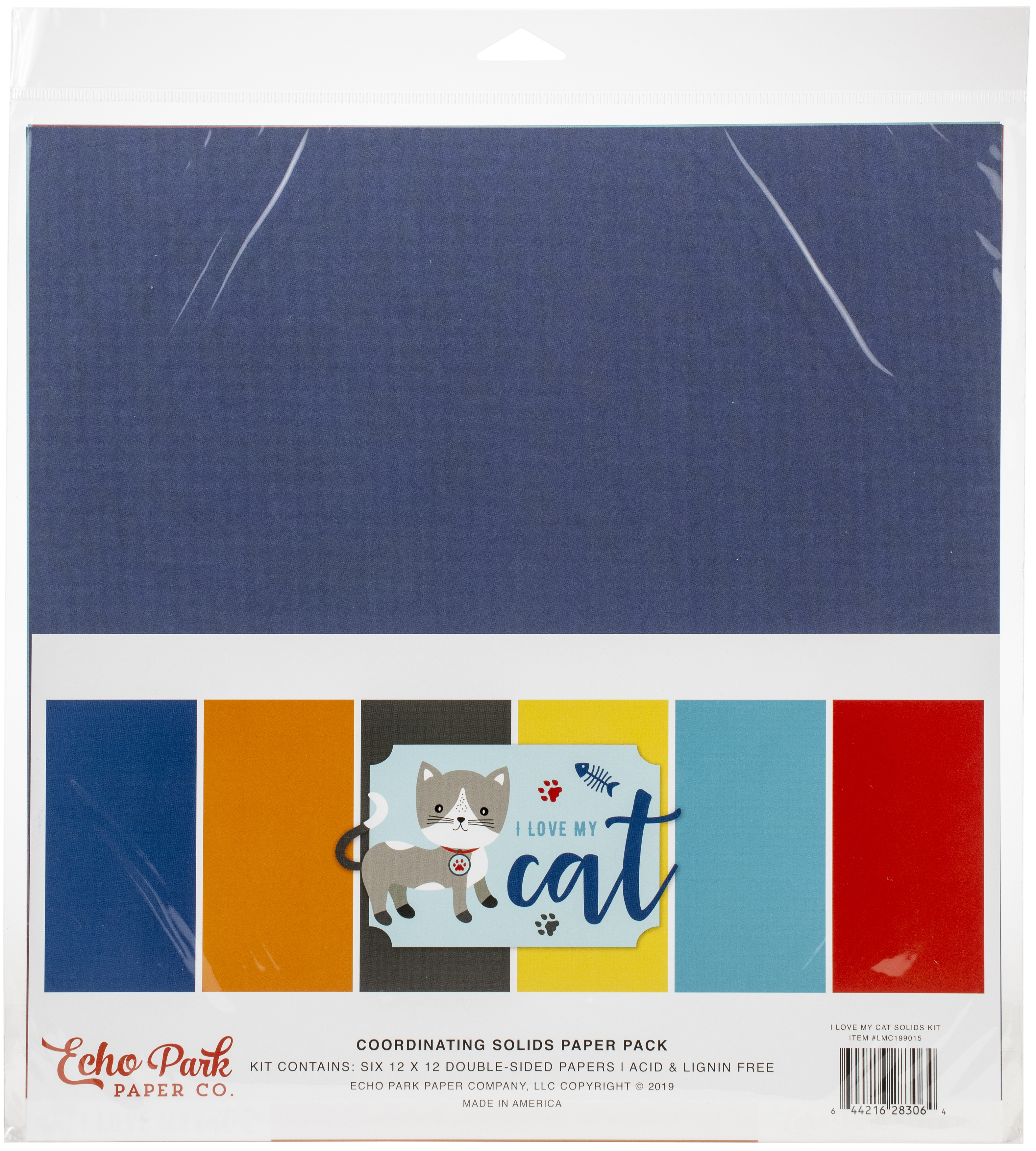 Echo Park Double-Sided Solid Cardstock 12X12 6/Pkg-I Love My Cat, 6 Colors