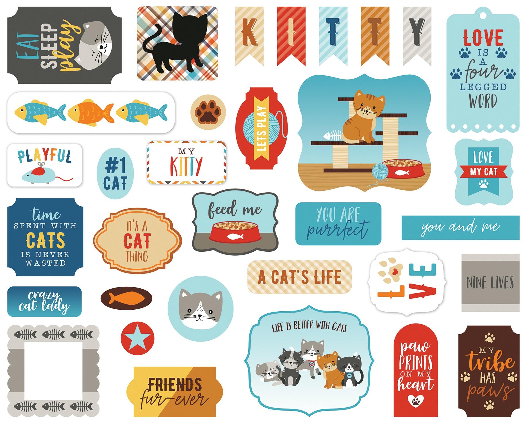 Echo Park Cardstock Ephemera 33/Pkg-Icons, I Love My Cat