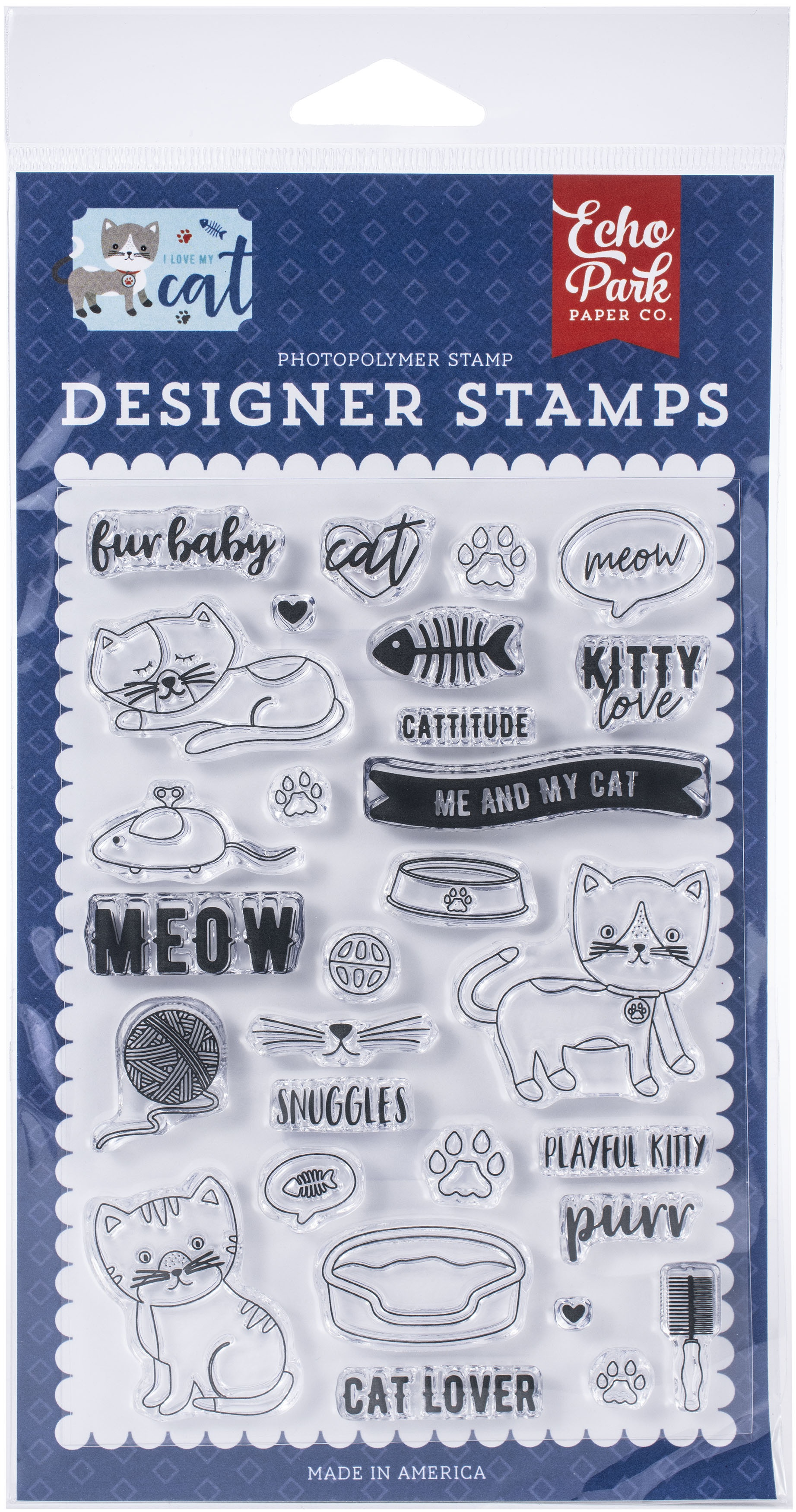 Echo Park Stamps-Kitty Love, I Love My Cat