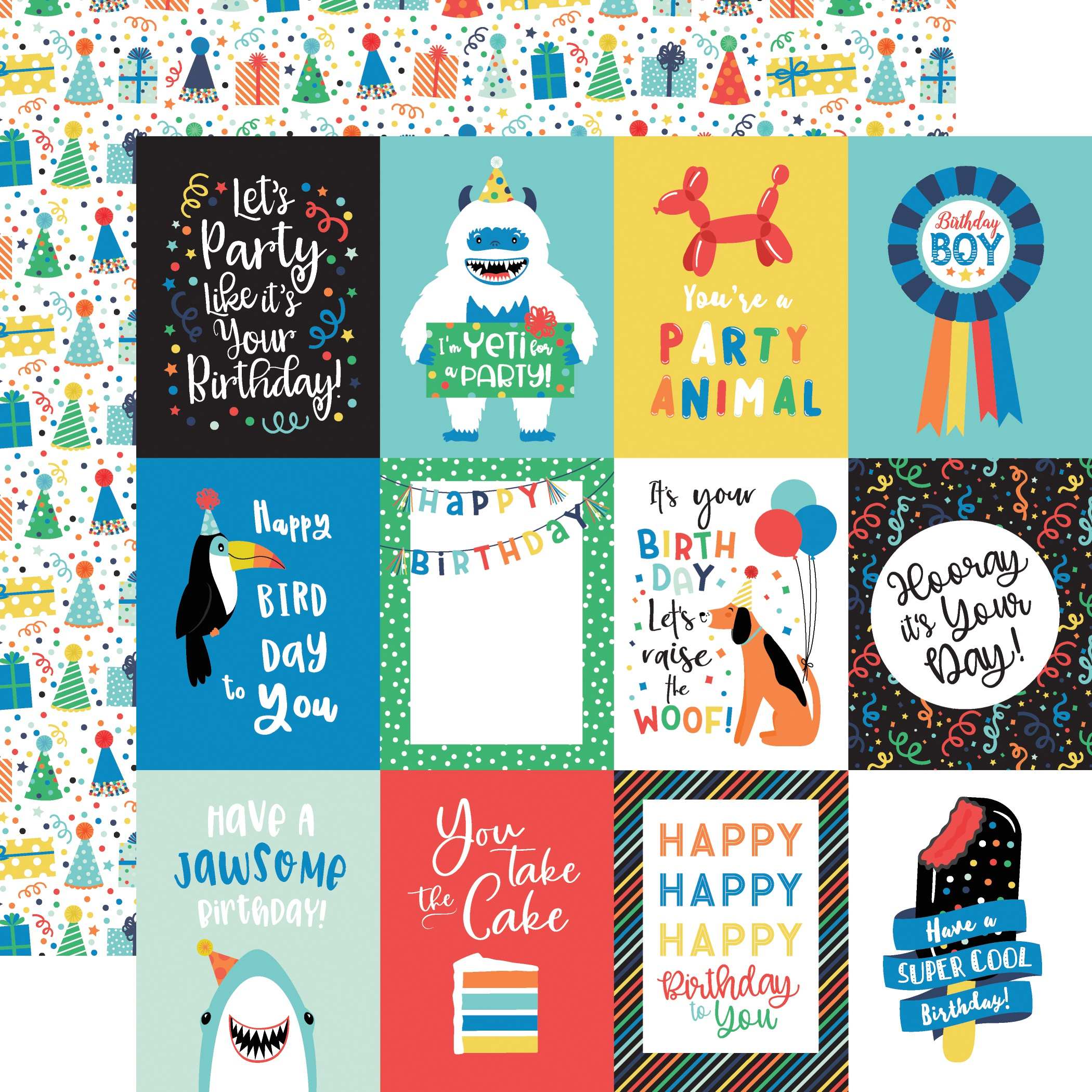 It's Your Birthday Boy Double-Sided Cardstock 12X12-3X4 Journaling Cards