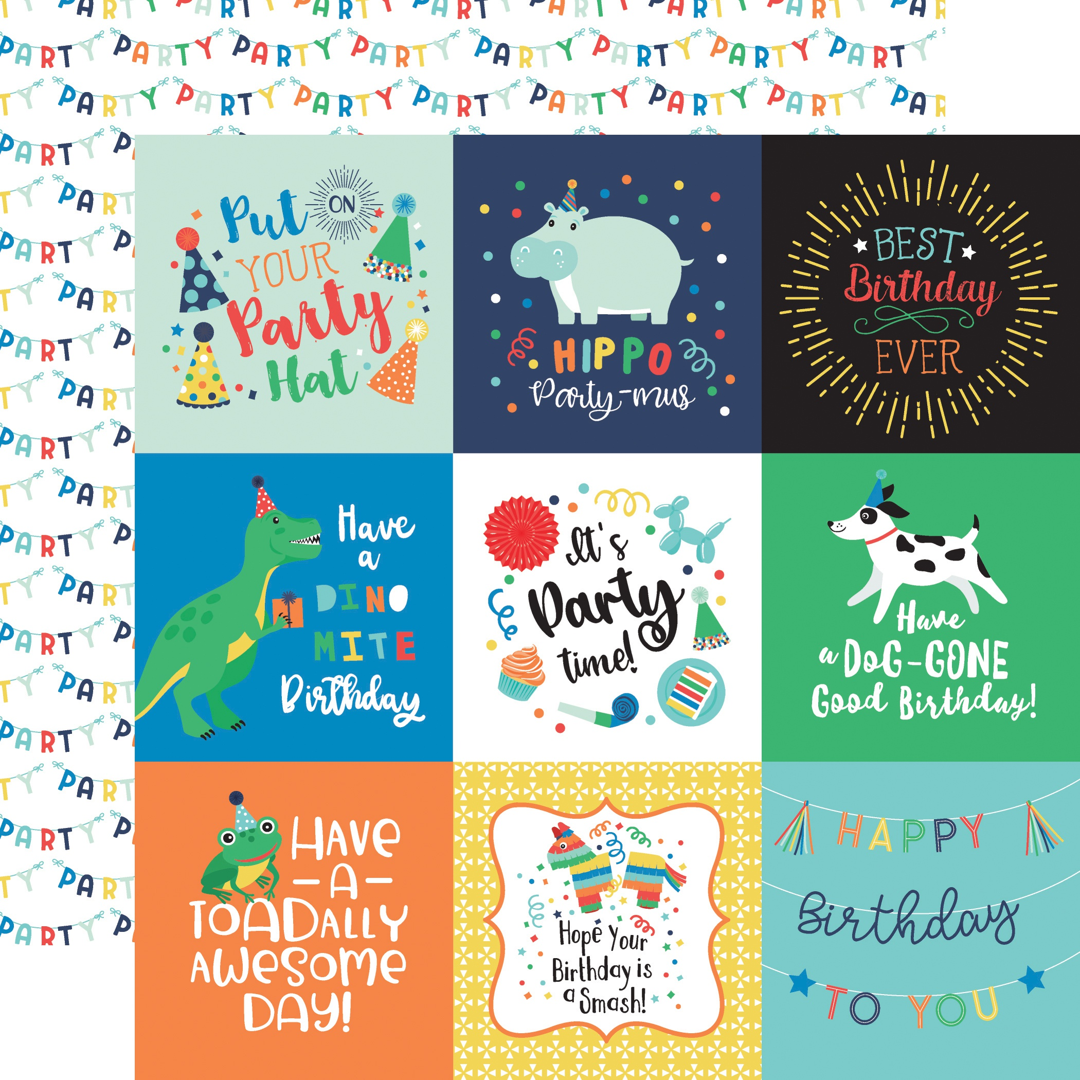 It's Your Birthday Boy Double-Sided Cardstock 12X12-4X4 Journaling Cards