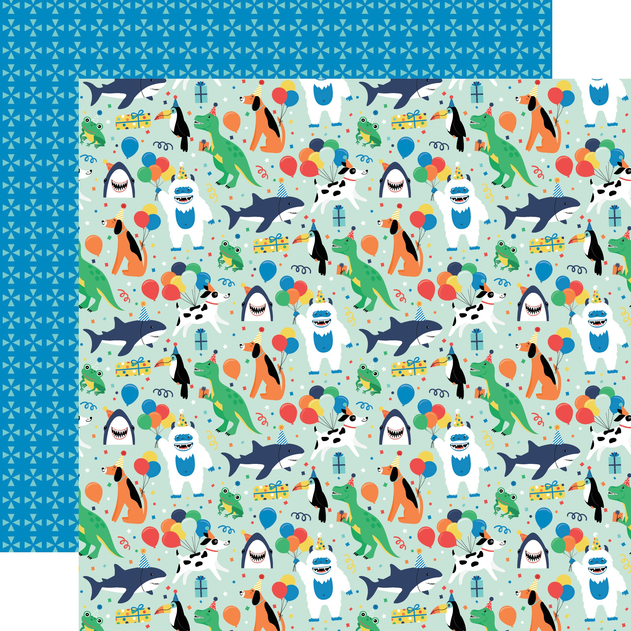 Echo Park It's Your Birthday Boy Double-Sided Cardstock 12x12-  Boy Party Animals