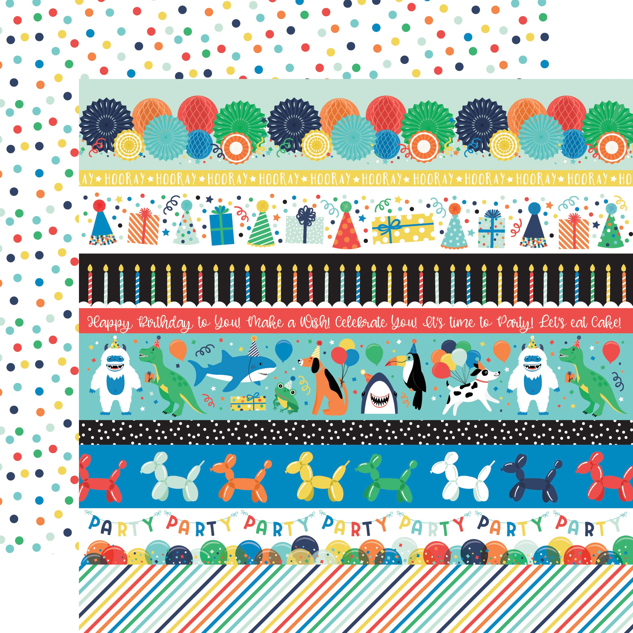 It's Your Birthday Boy Double-Sided Cardstock 12X12-Border Strips