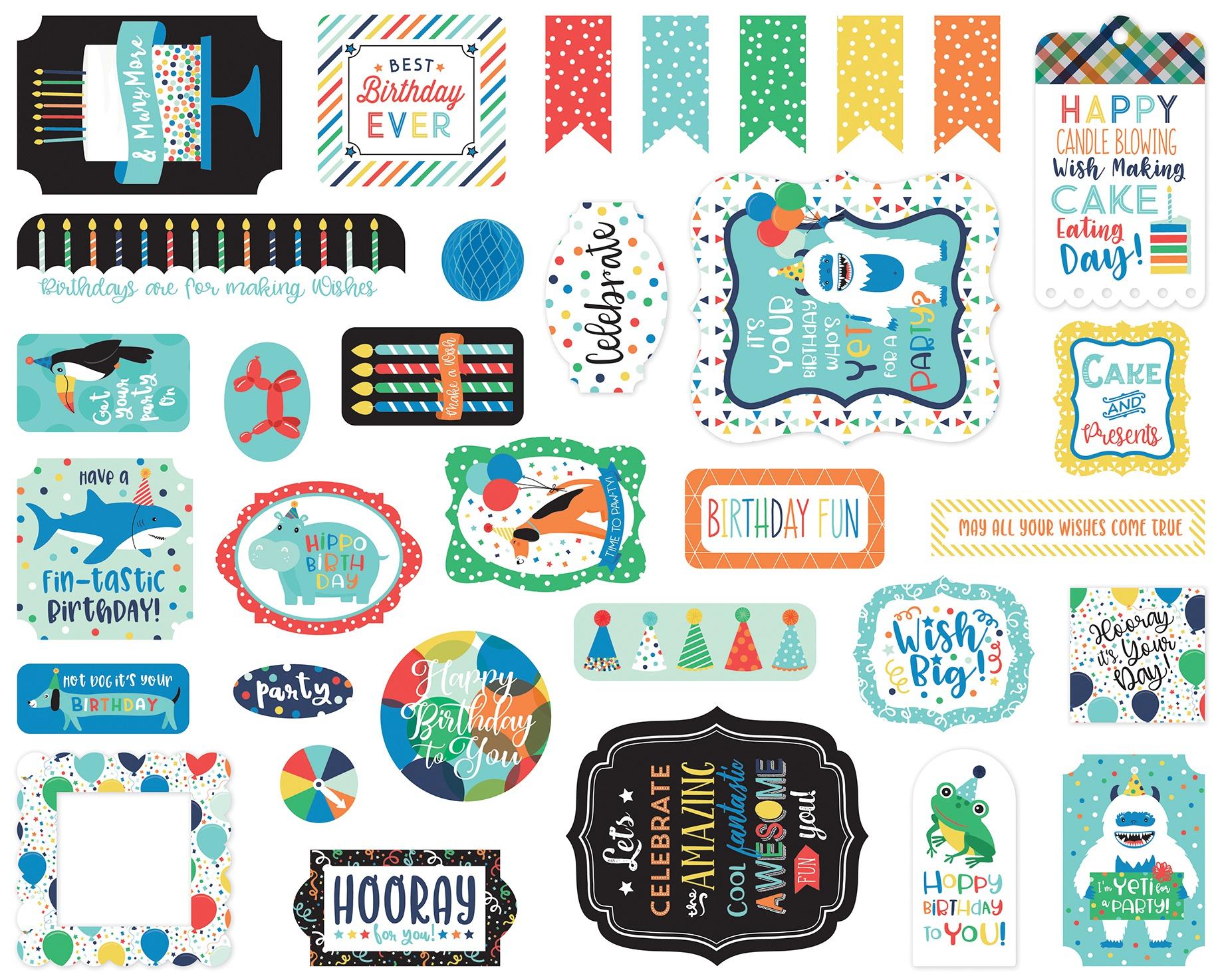 Echo Park Cardstock Ephemera 33/Pkg-Icons, It's Your Birthday Boy