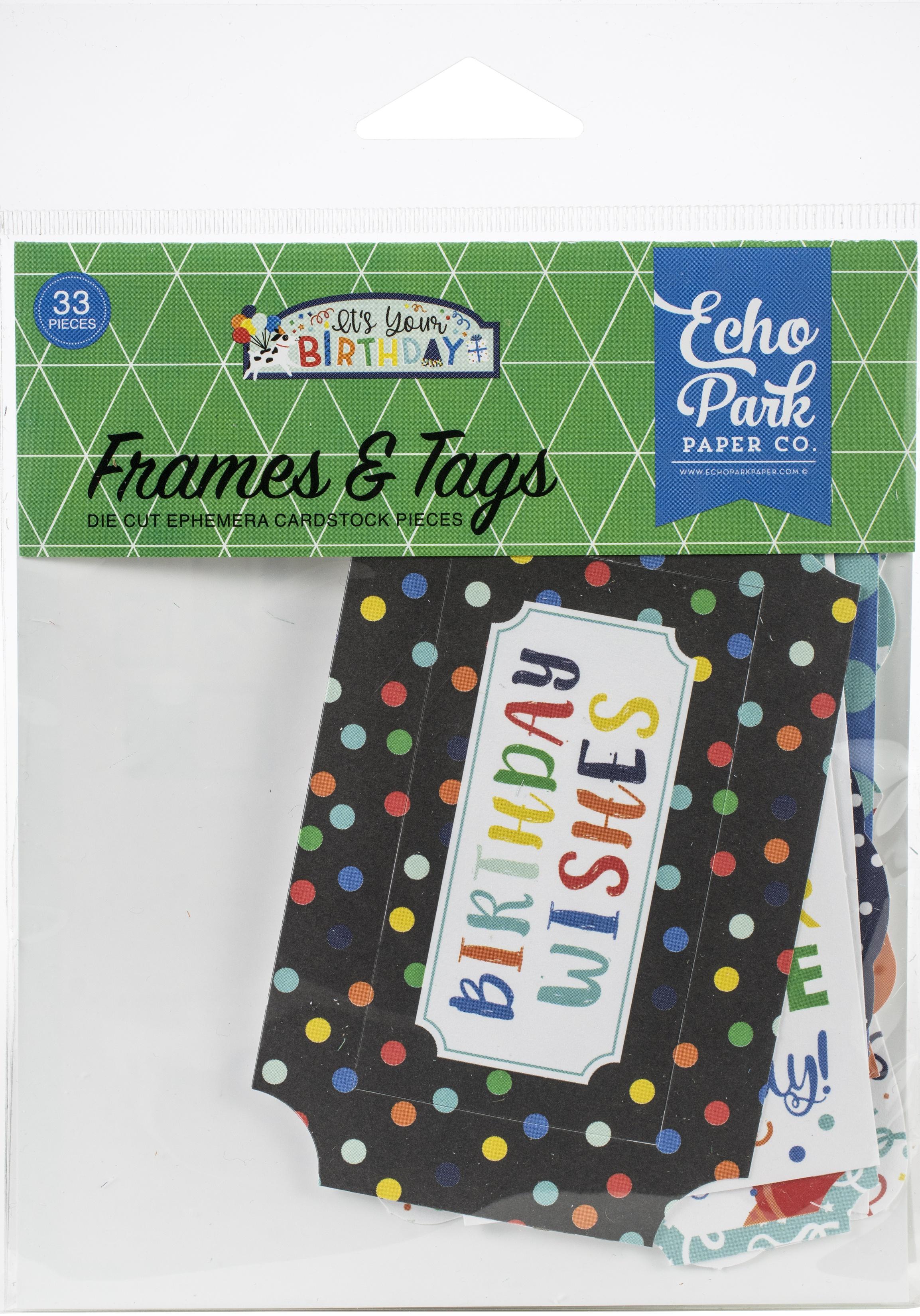 Echo Park Cardstock Ephemera 33/Pkg-Frames & Tags, It's Your Birthday Boy