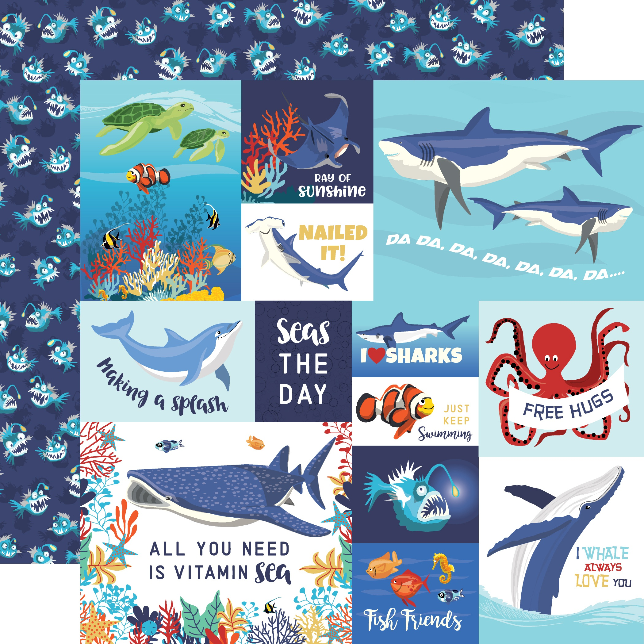 Fish Are Friends Double-Sided Cardstock 12X12-Multi Journaling Cards
