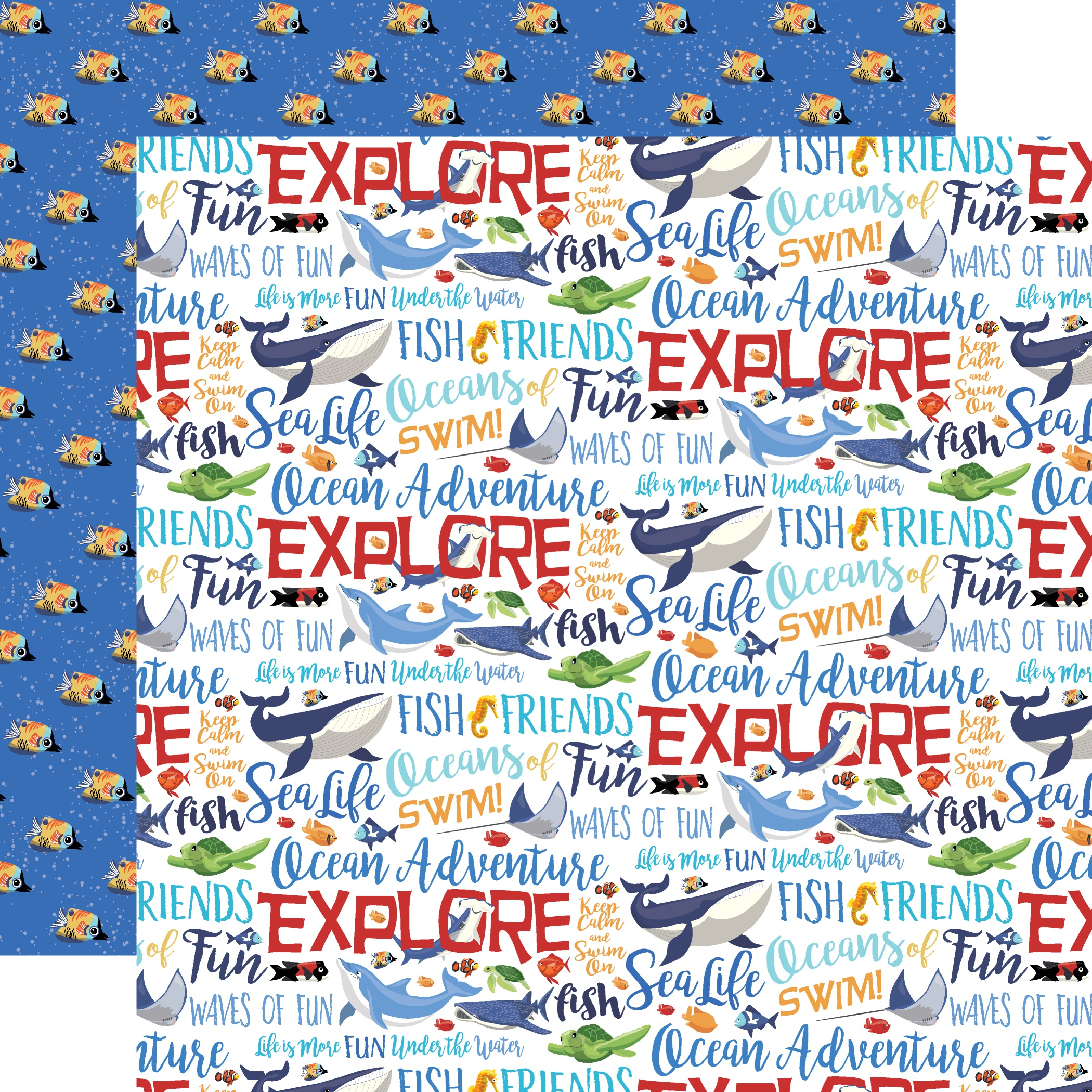 Fish Are Friends Double-Sided Cardstock 12X12-Ocean Words